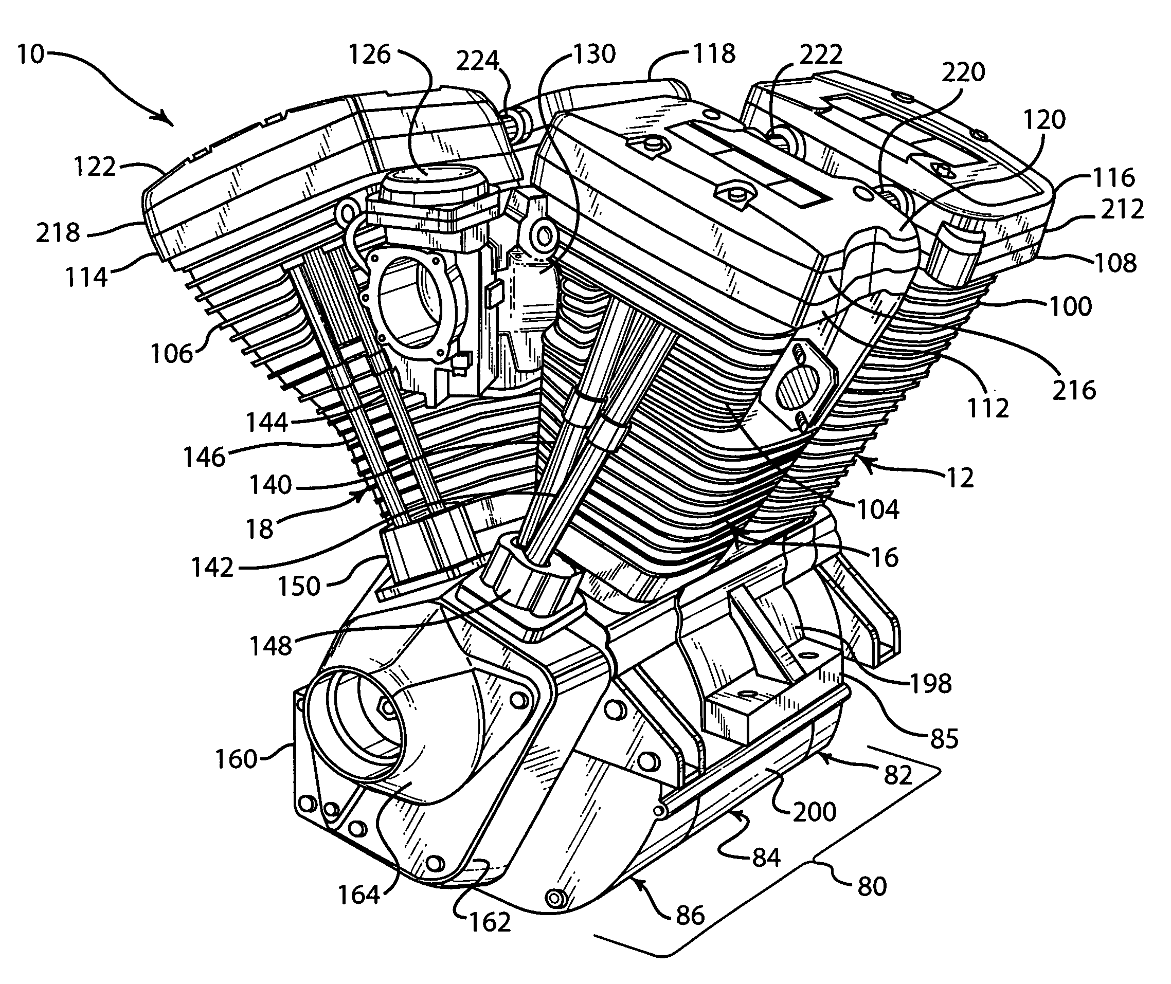 harley davidson sportster engine diagram patent us7134407 - v-quad engine and method of ... harley davidson motorcycle engine diagram