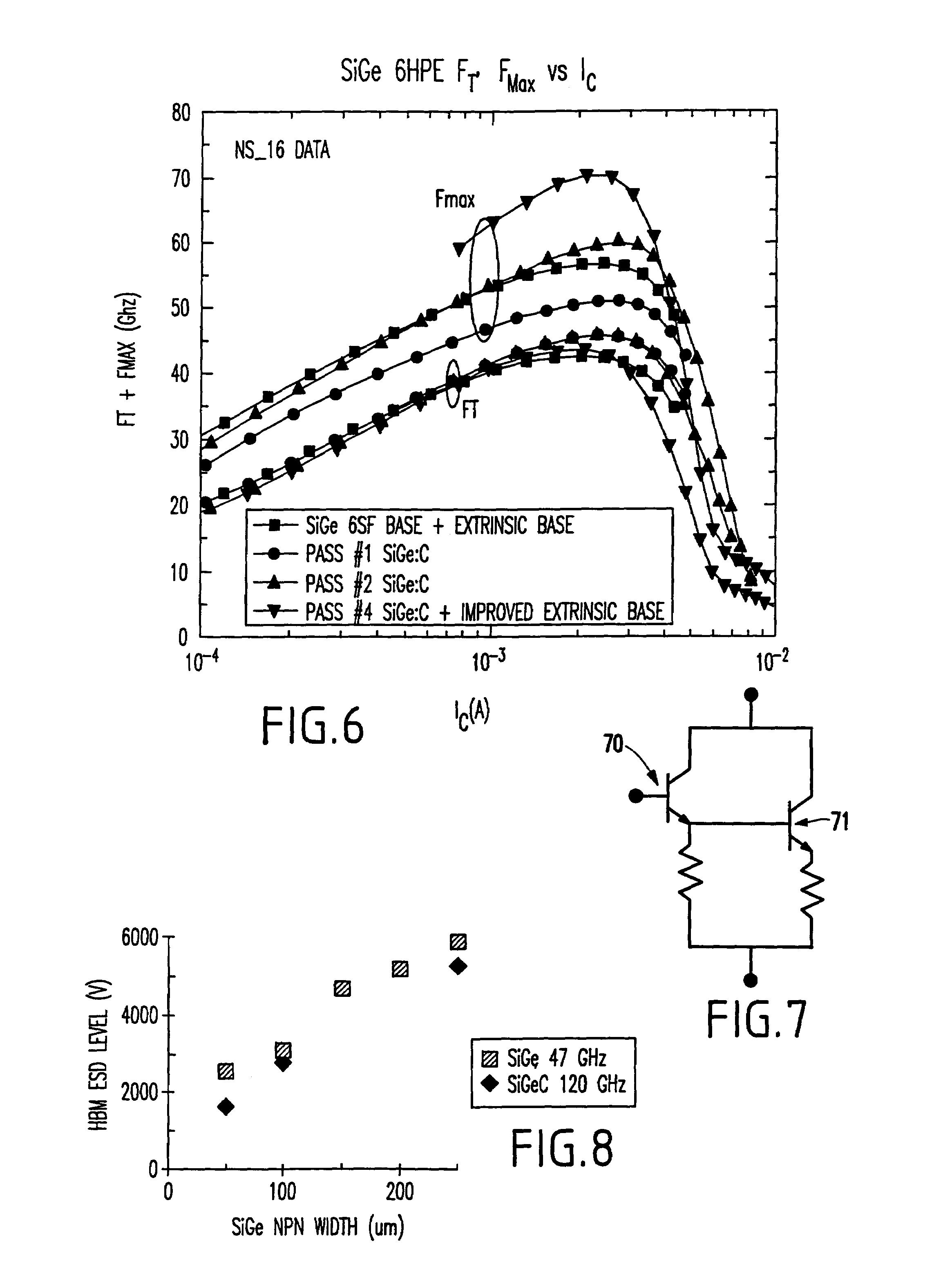 patent us7138669 silicon germanium heterojunction bipolar NPN Bipolar Transistor patent drawing