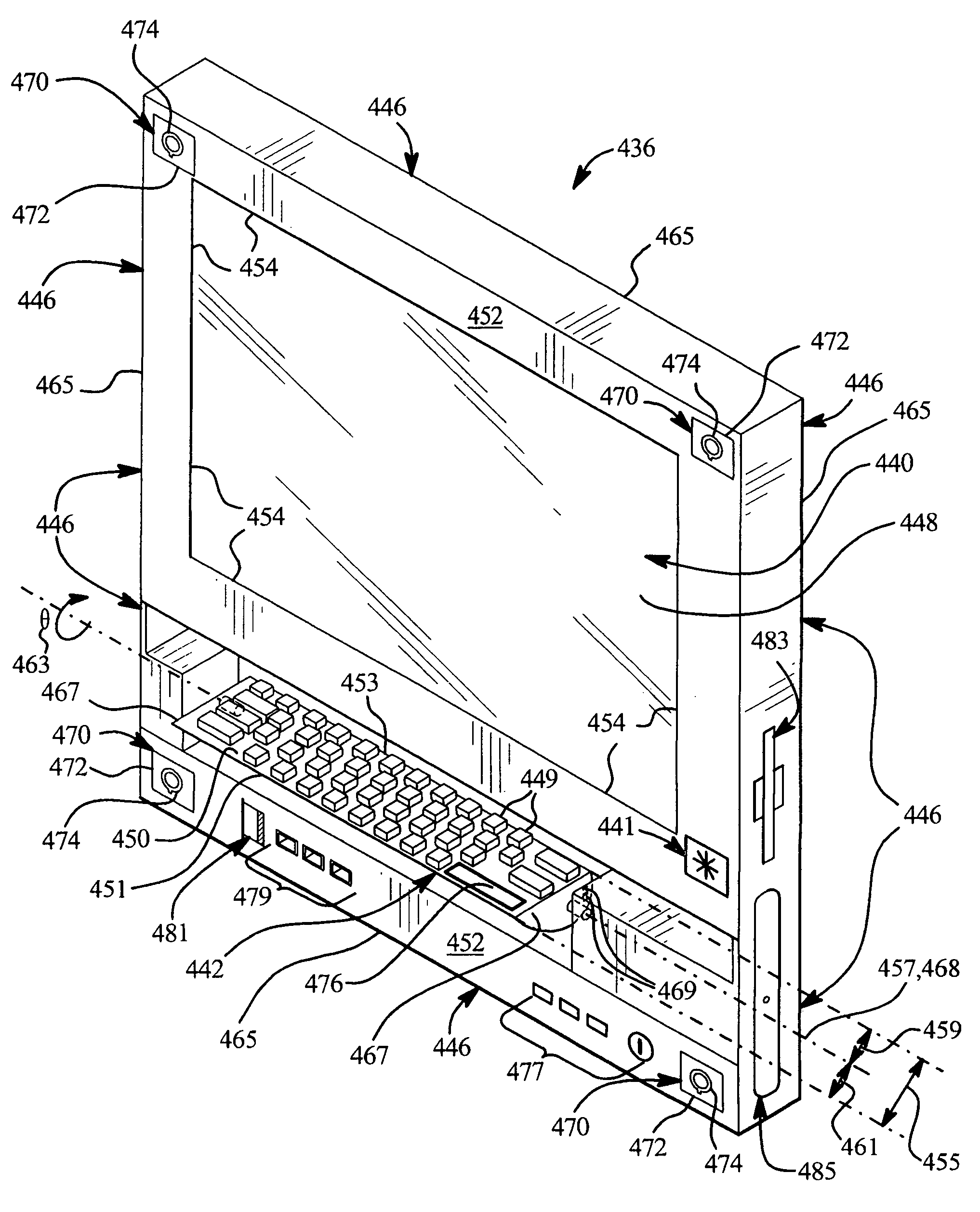 patent us7158373 electronic device having a keyboard rotatable  patent drawing