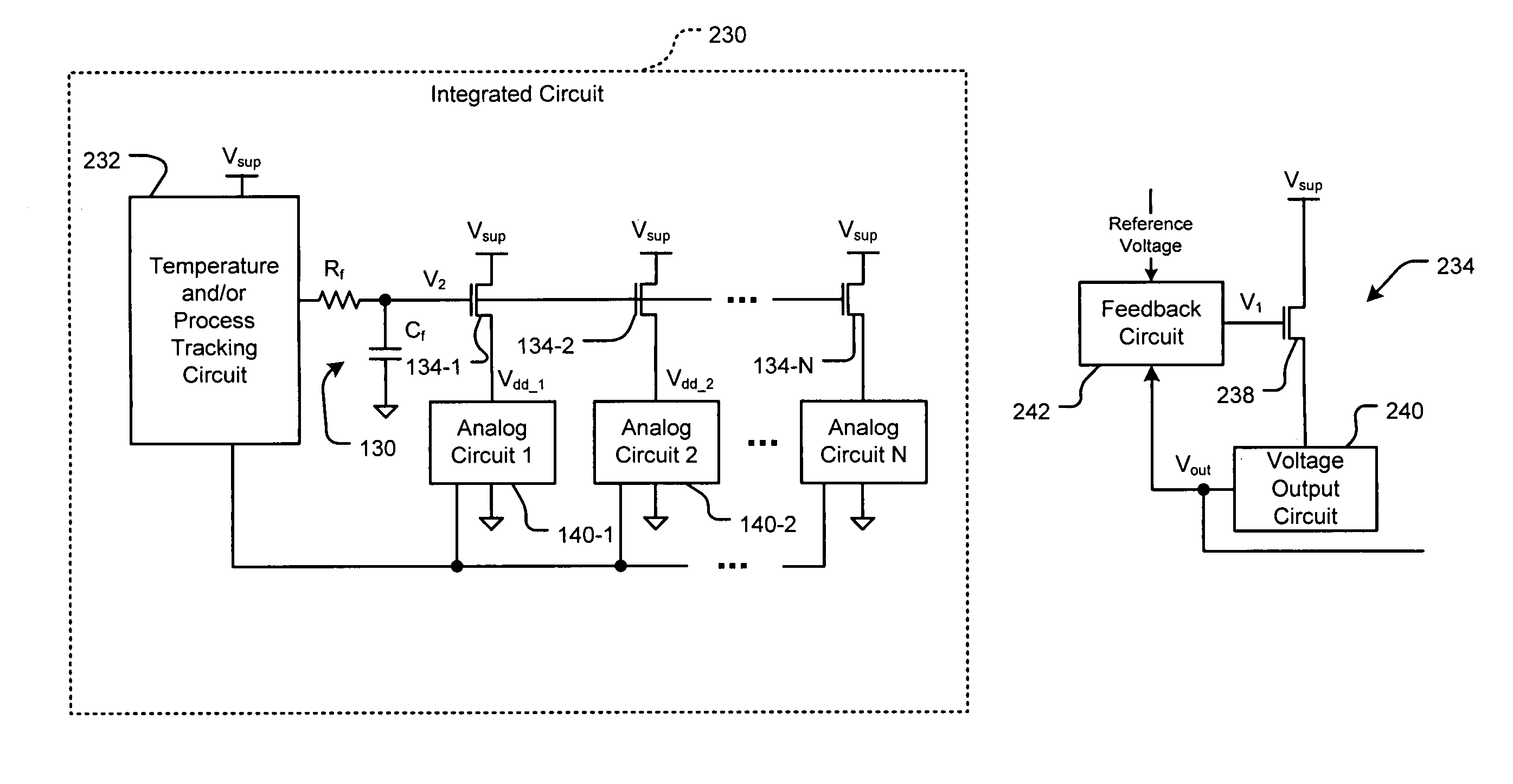 patent us7190199 - scalable integrated circuit architecture with analog circuits