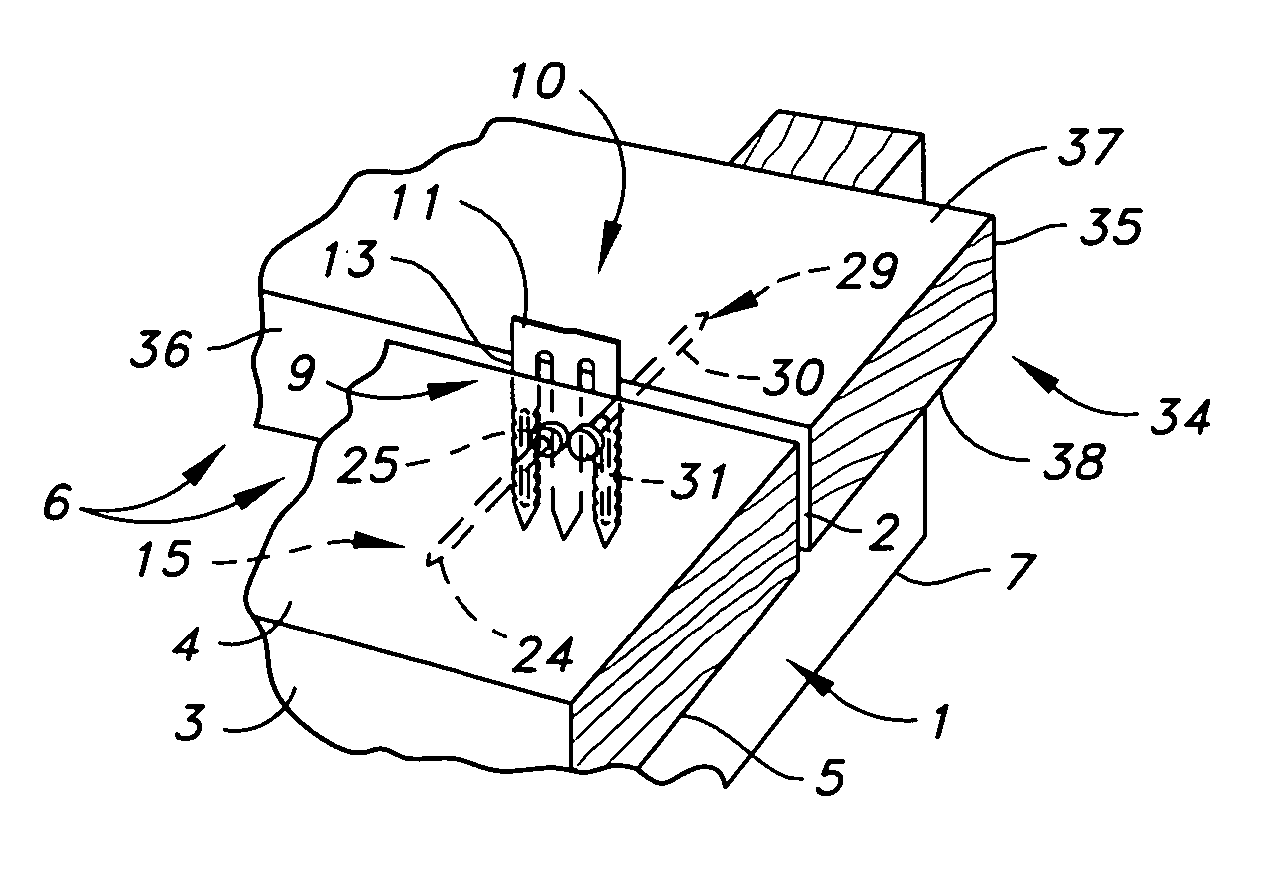patent us7207150 deck board tie connector connection and method Grip-Rite Nails patent drawing