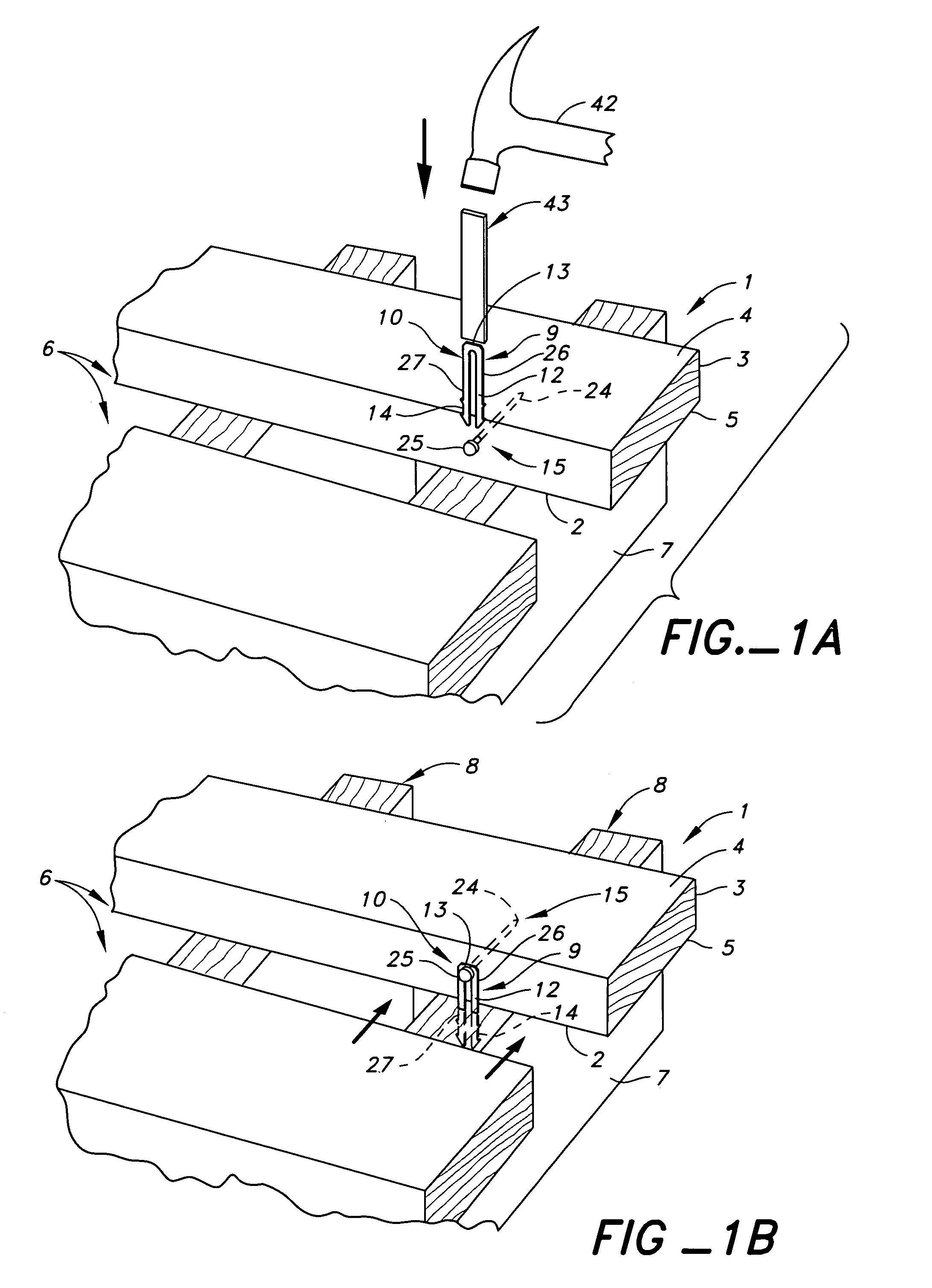 patent us7207150 deck board tie connector connection and method Steel Nails patent drawing