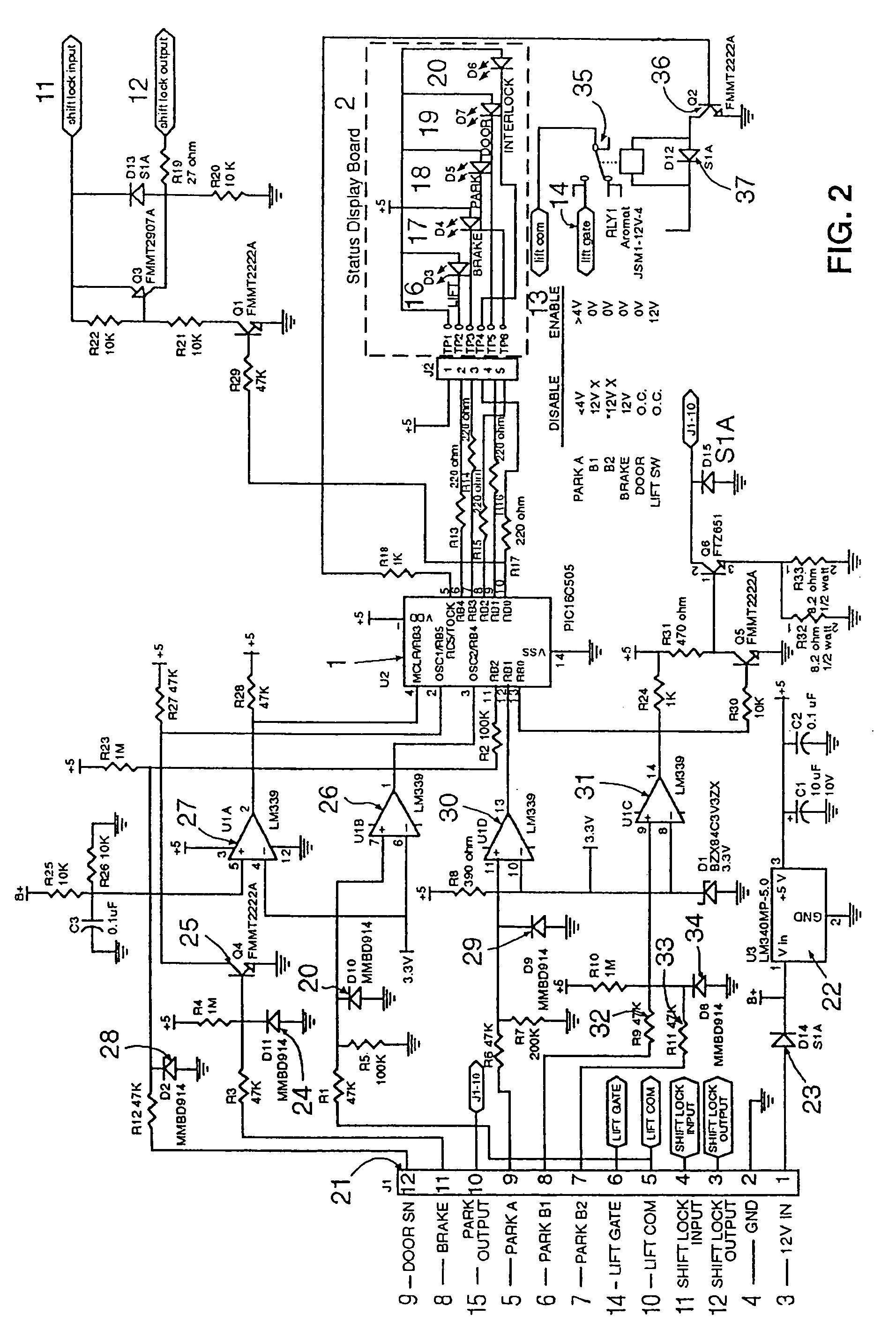 patent us7274980 - intelligent lift interlock system