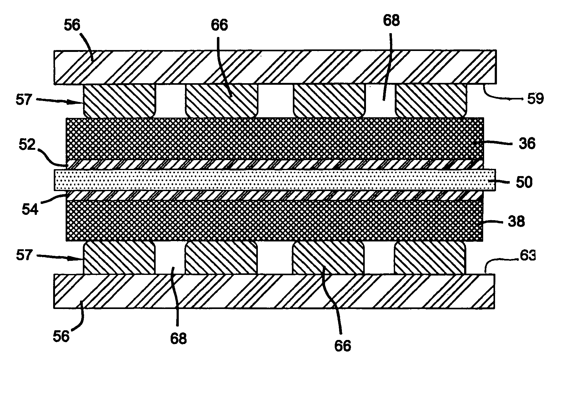 Patent US7306874 - PEM fuel cell stack with coated flow distribution