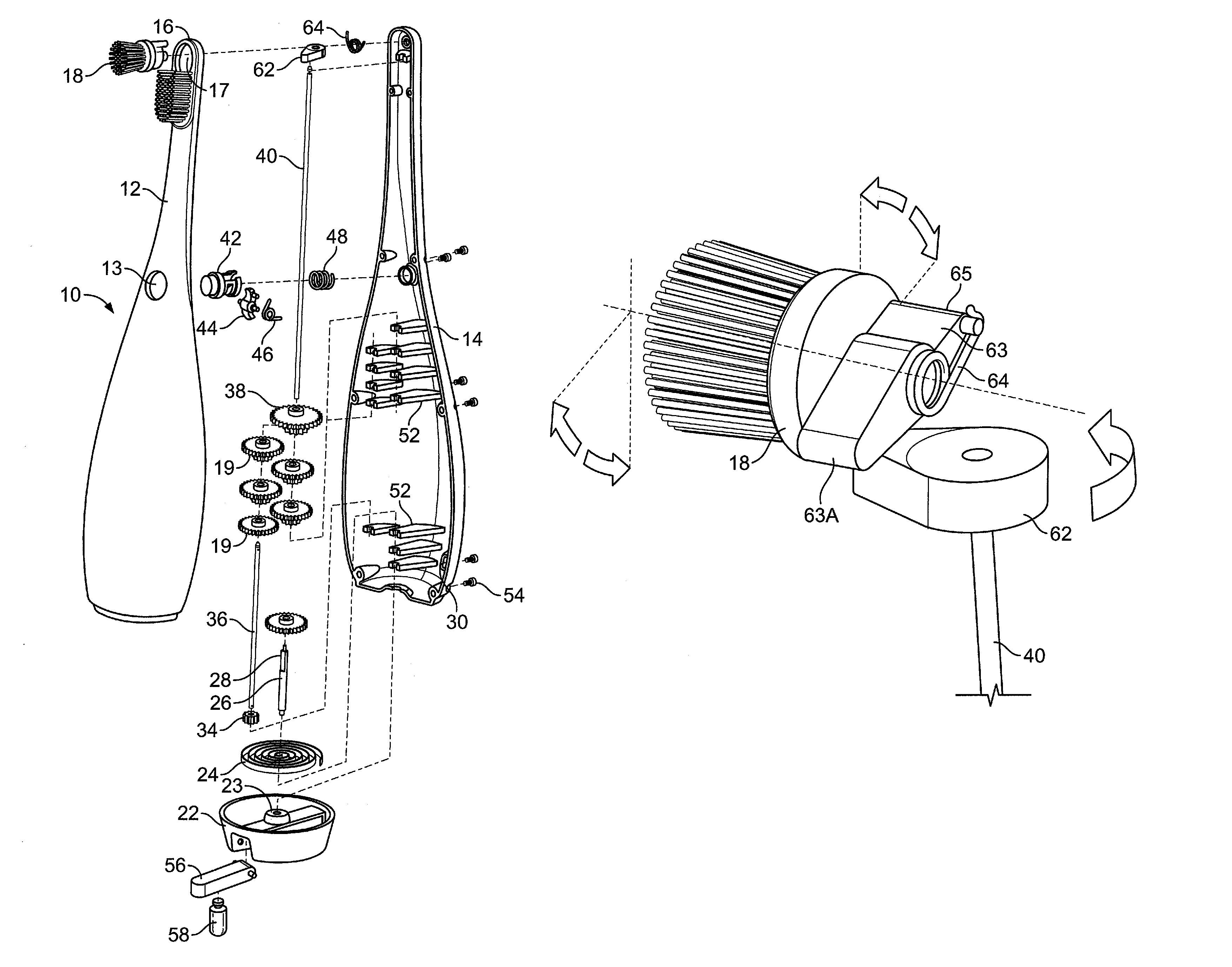 Patent Us7310844 Toothbrush With Manual Powered Movable
