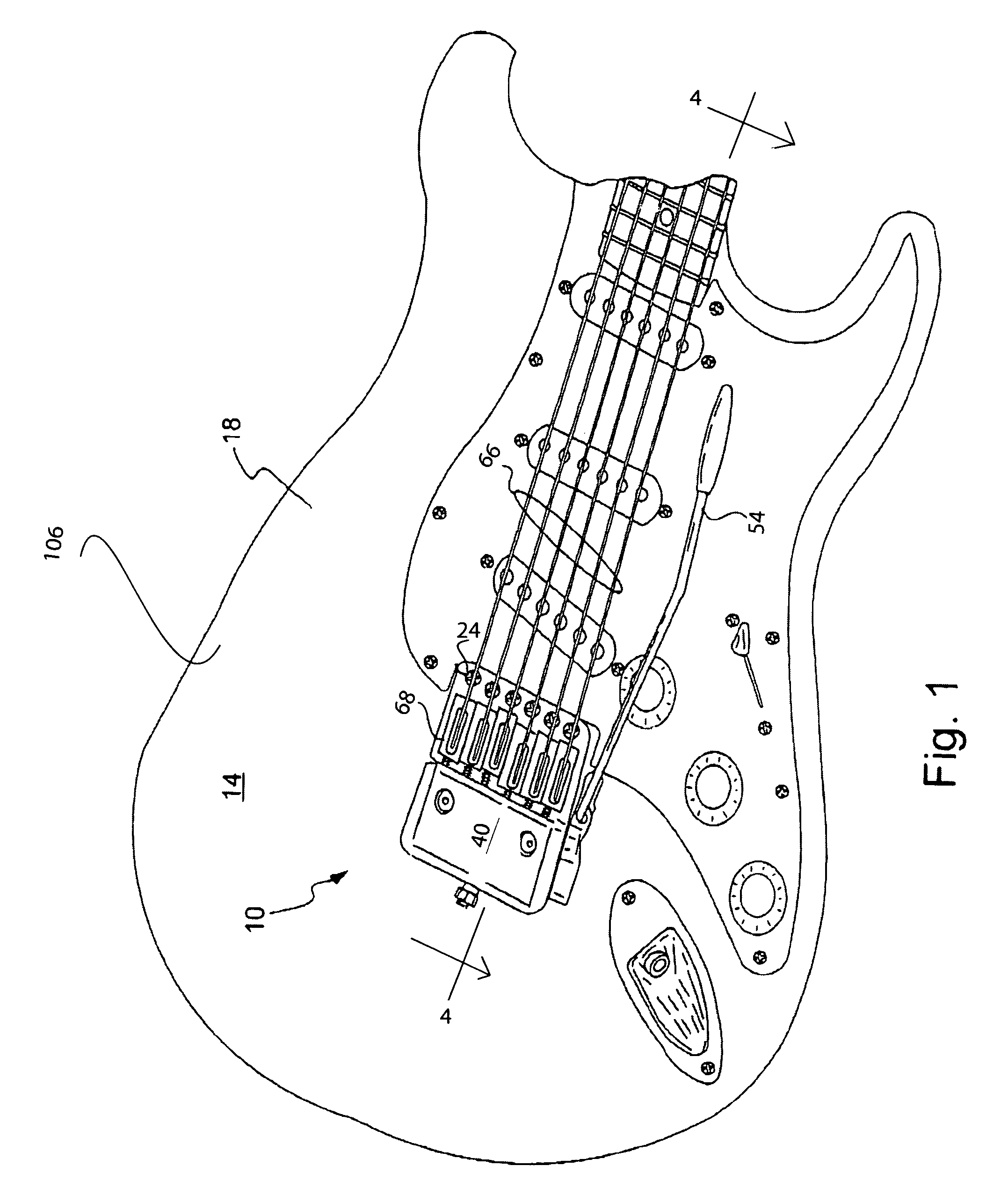 patent us7339102 cam activated tremolo bridge patents Strings On a Electric Guitar patent drawing