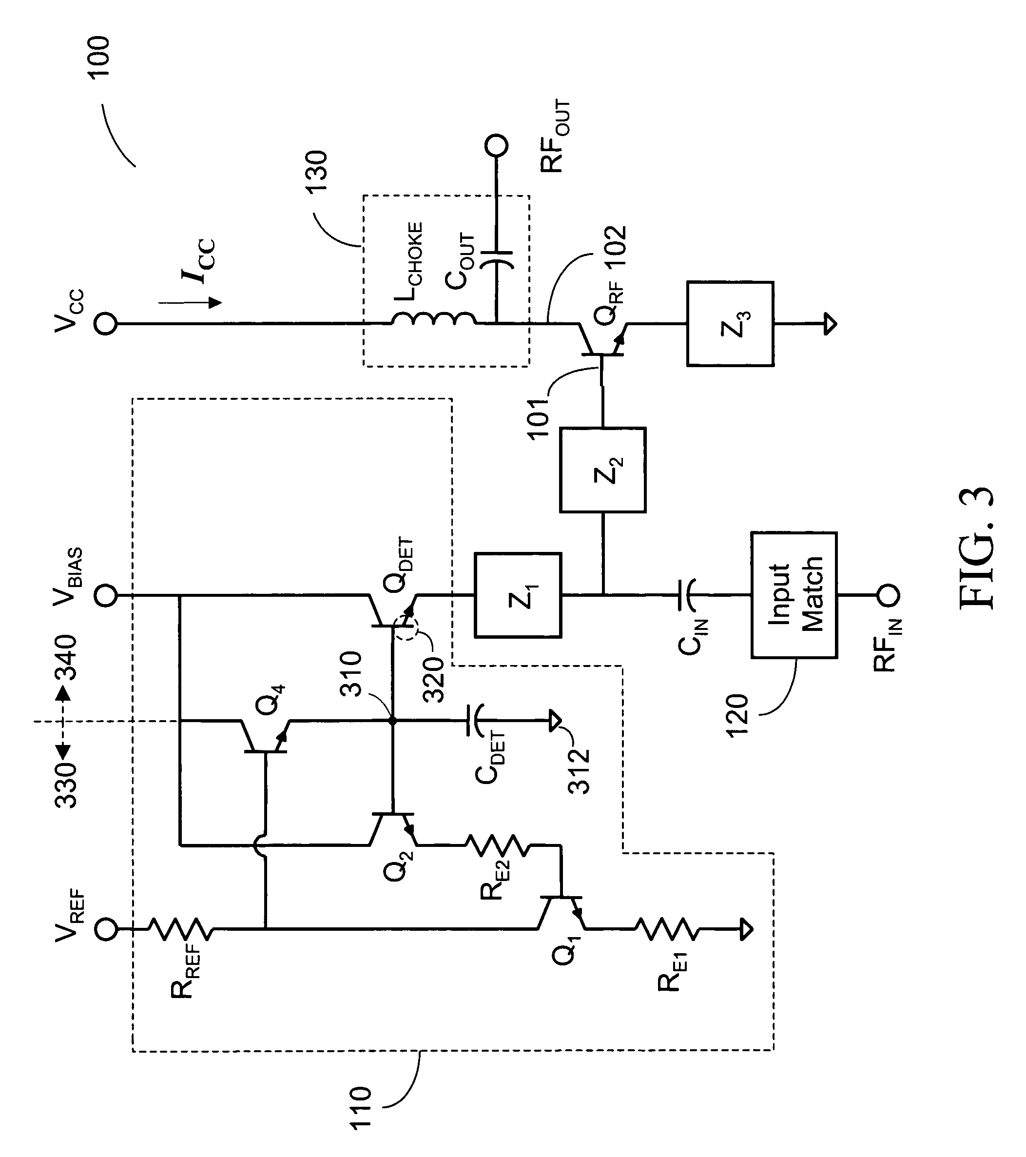 patent us7345547 - bias circuit for bjt amplifier