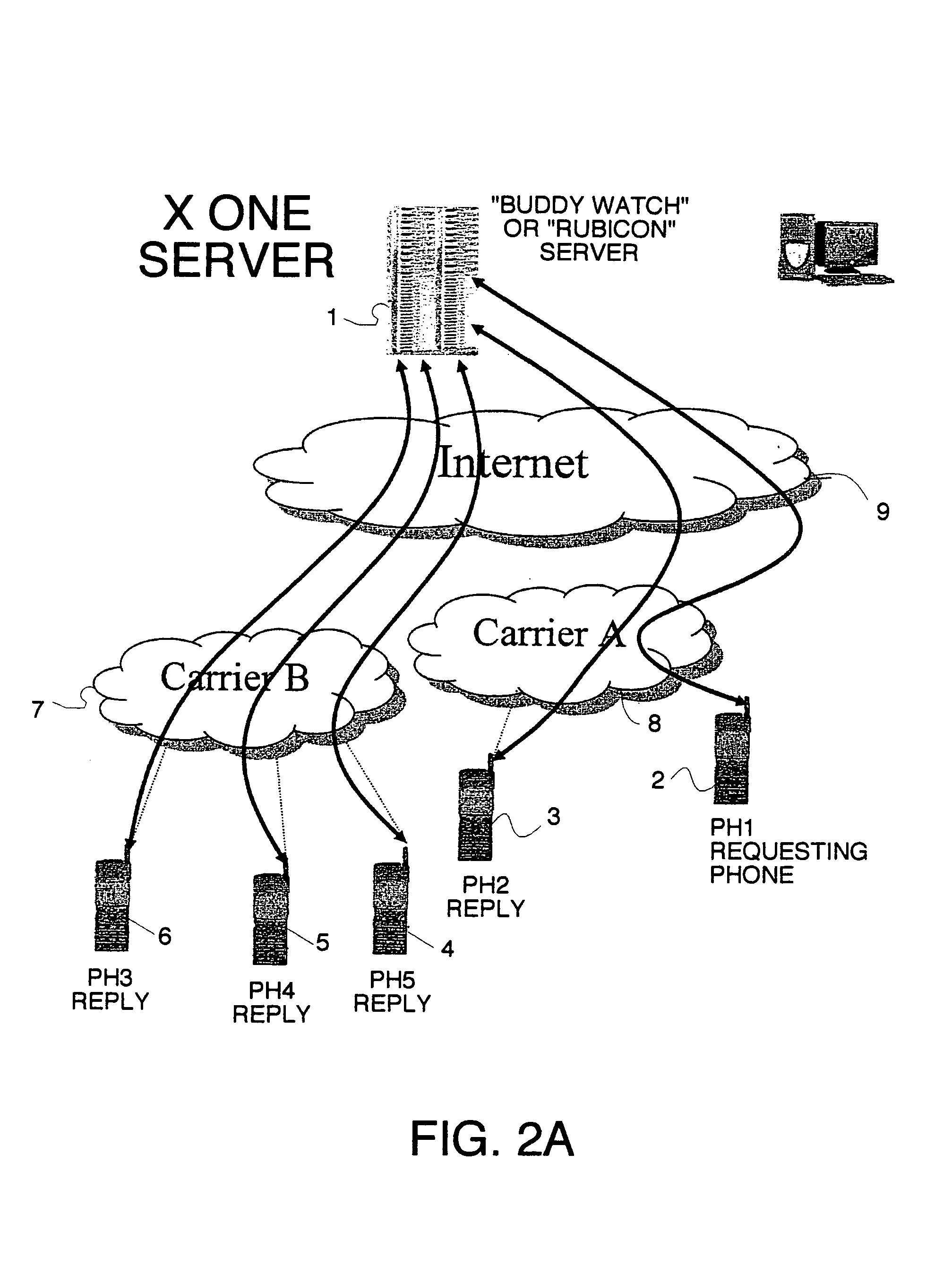 Us7353034b2 Location Sharing And Tracking Using Mobile Phones Or Network Diagram For Internetbased Servers Scenario 4 With Internet Other Wireless Devices Google Patents