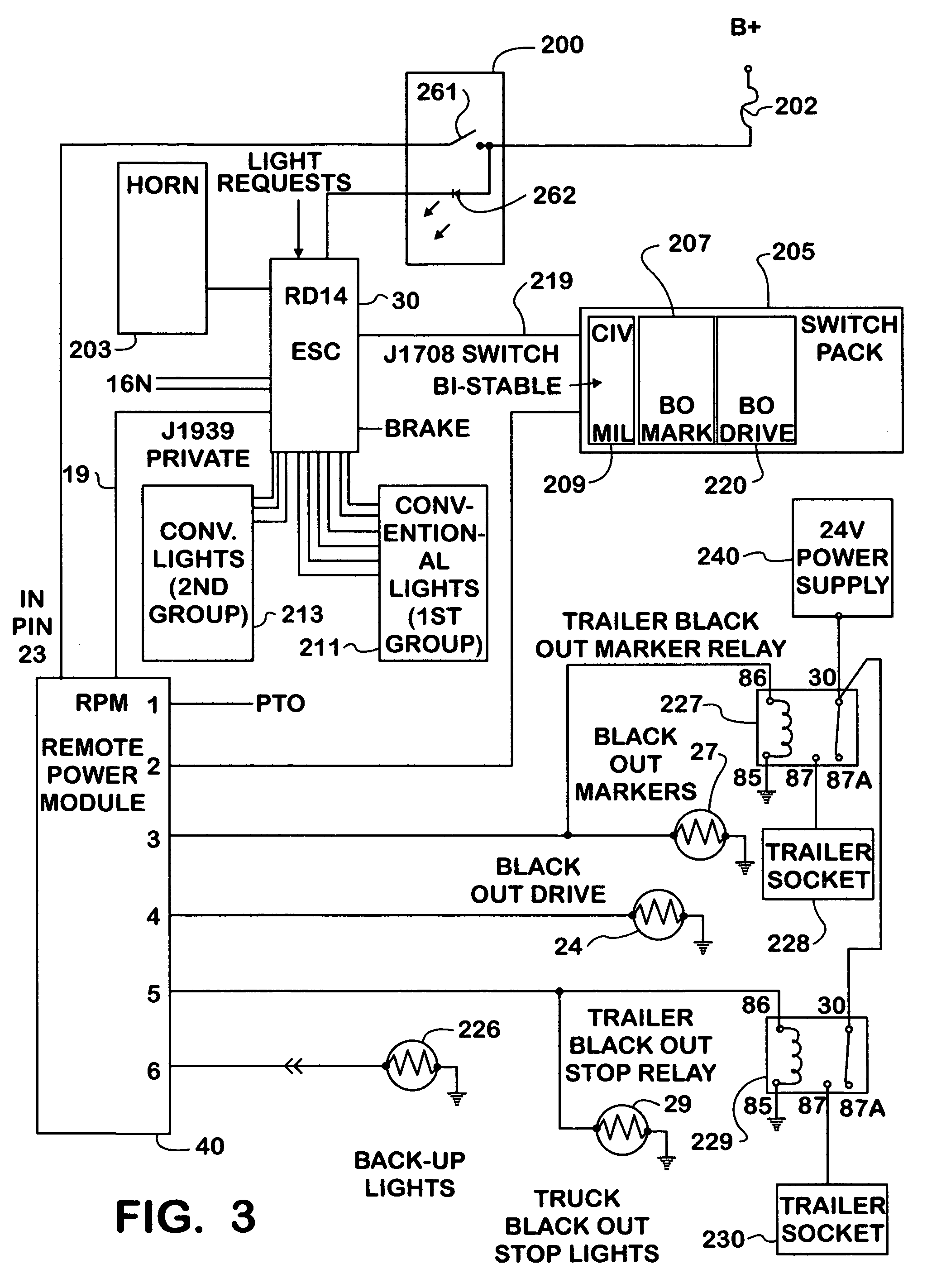 Us7355347 Auxiliary Lighting System For Vehicles J1939 International 4700 Wiring Diagram Patent Drawing