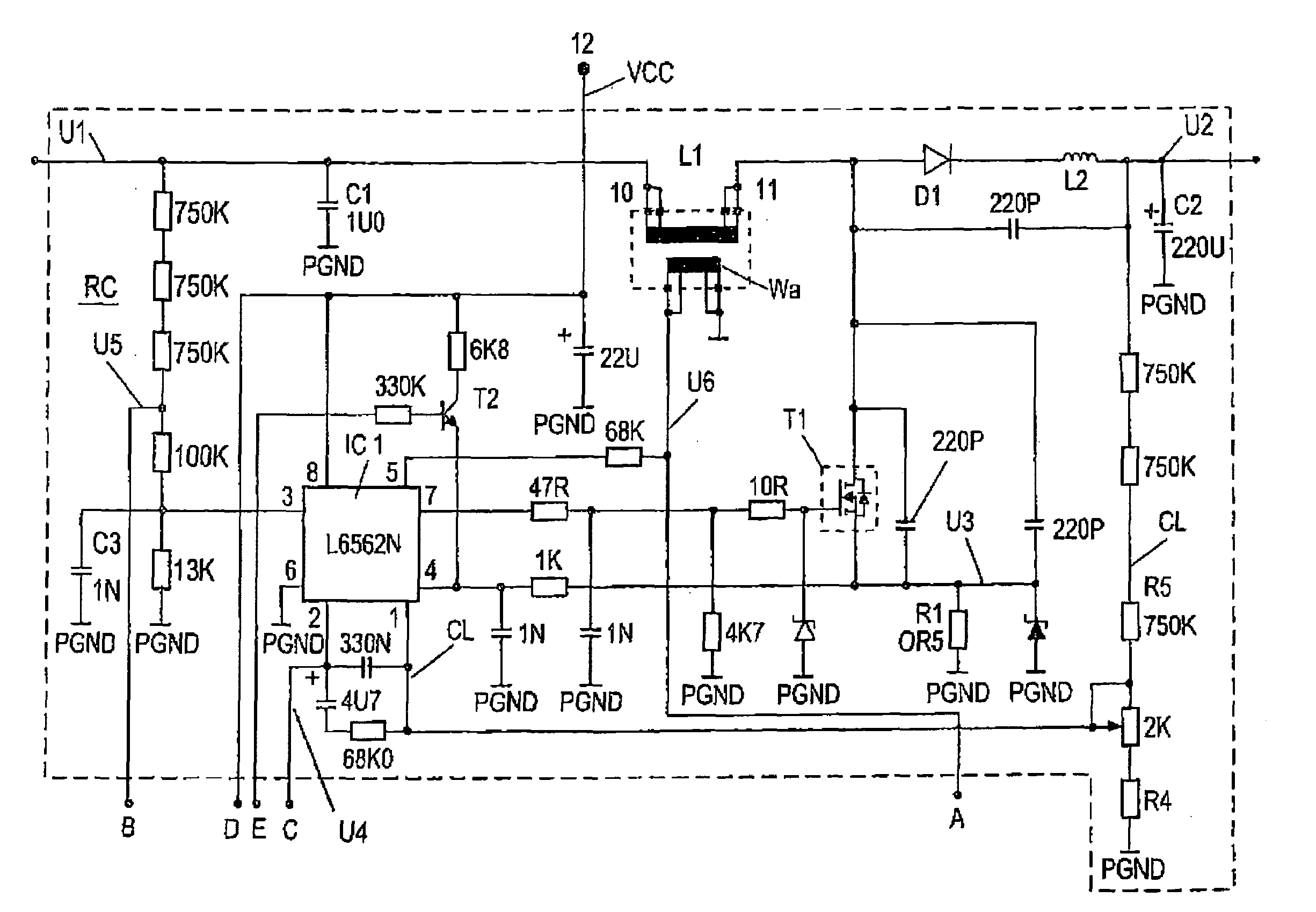 patent us7379310 - over-voltage protection circuit for a switched mode power supply