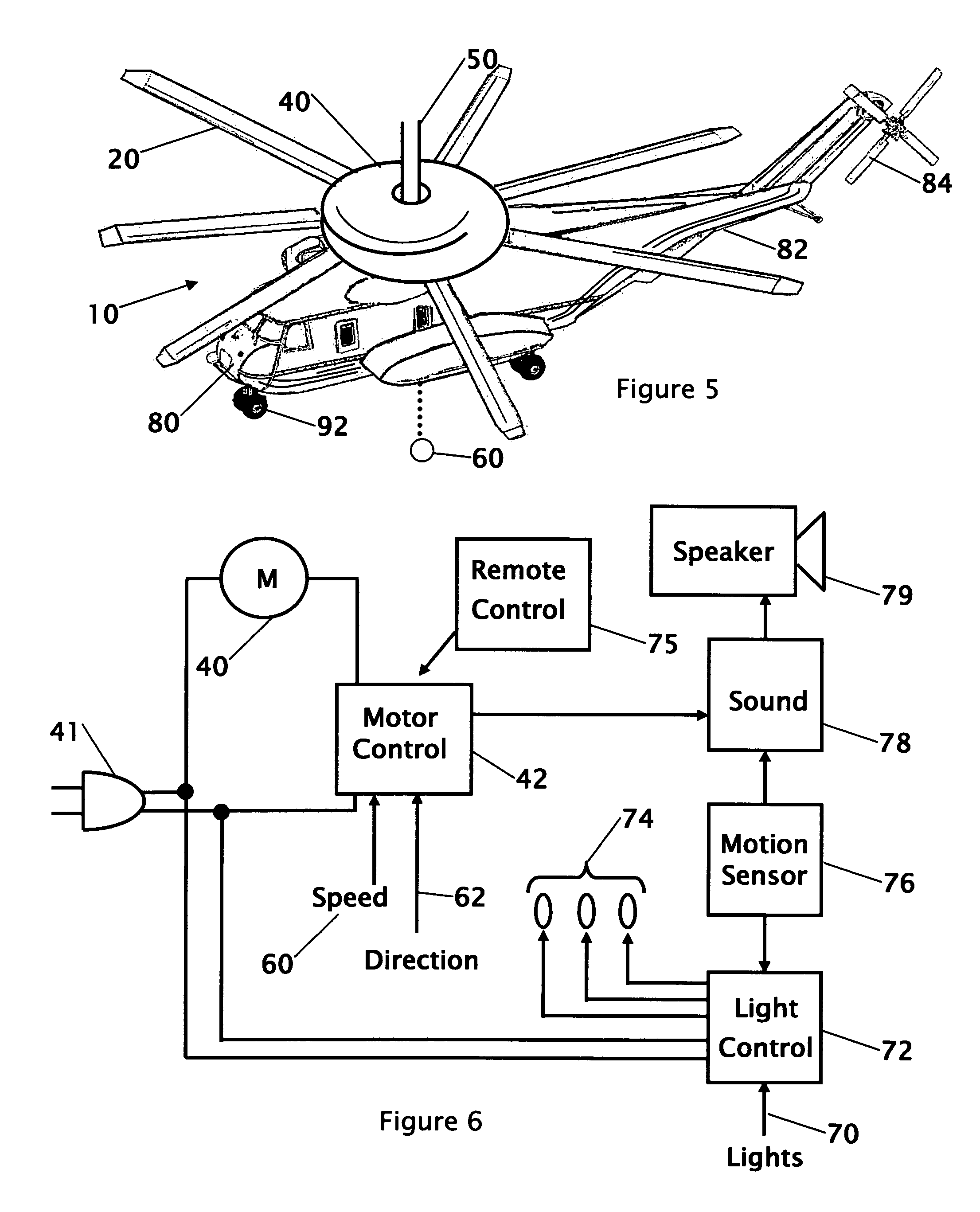 patent us7385528 - combination ceiling fan with light and sound generator