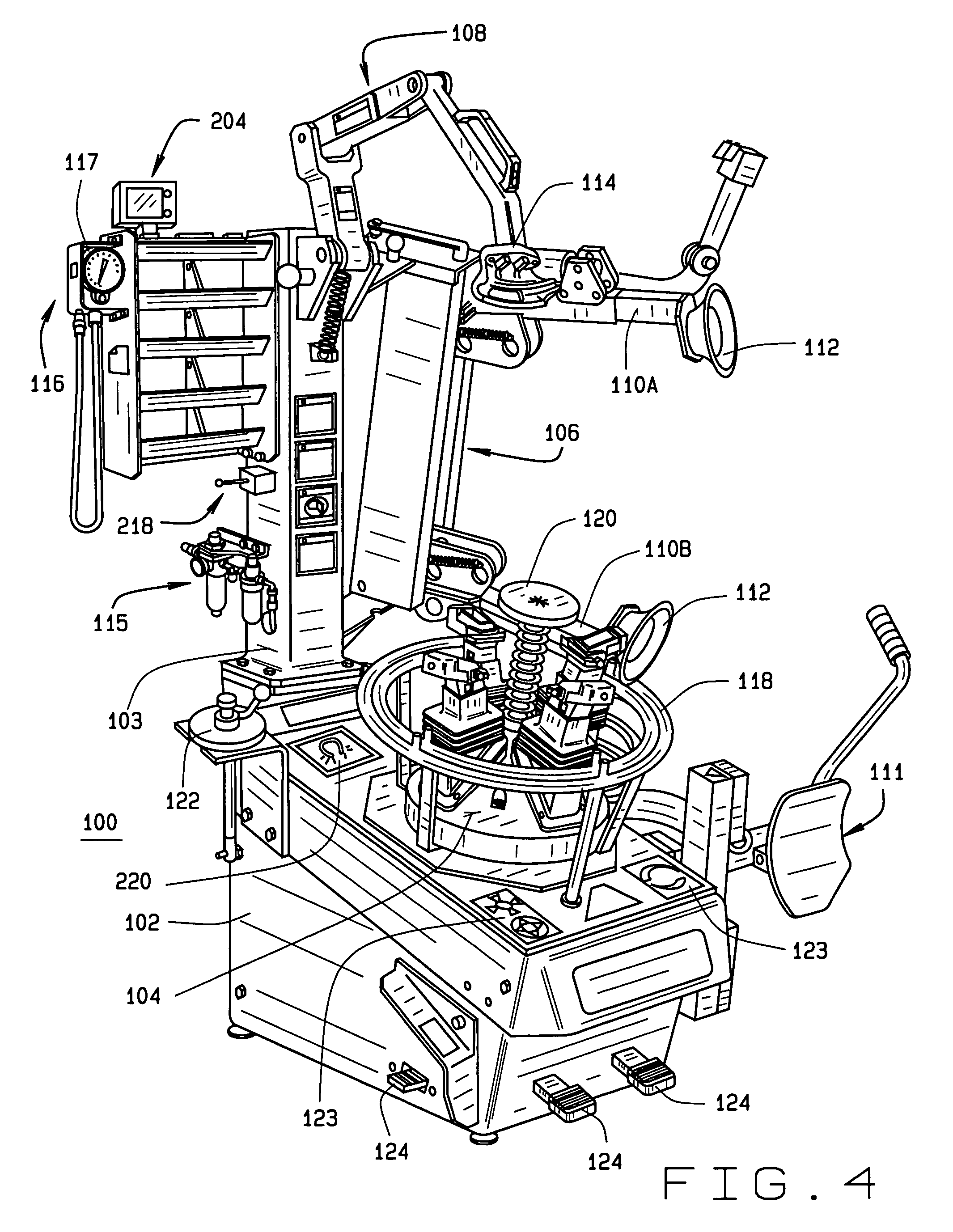 Patent US7404427 - Vehicle tire changer with integrated detector for tire pressure sensors ...