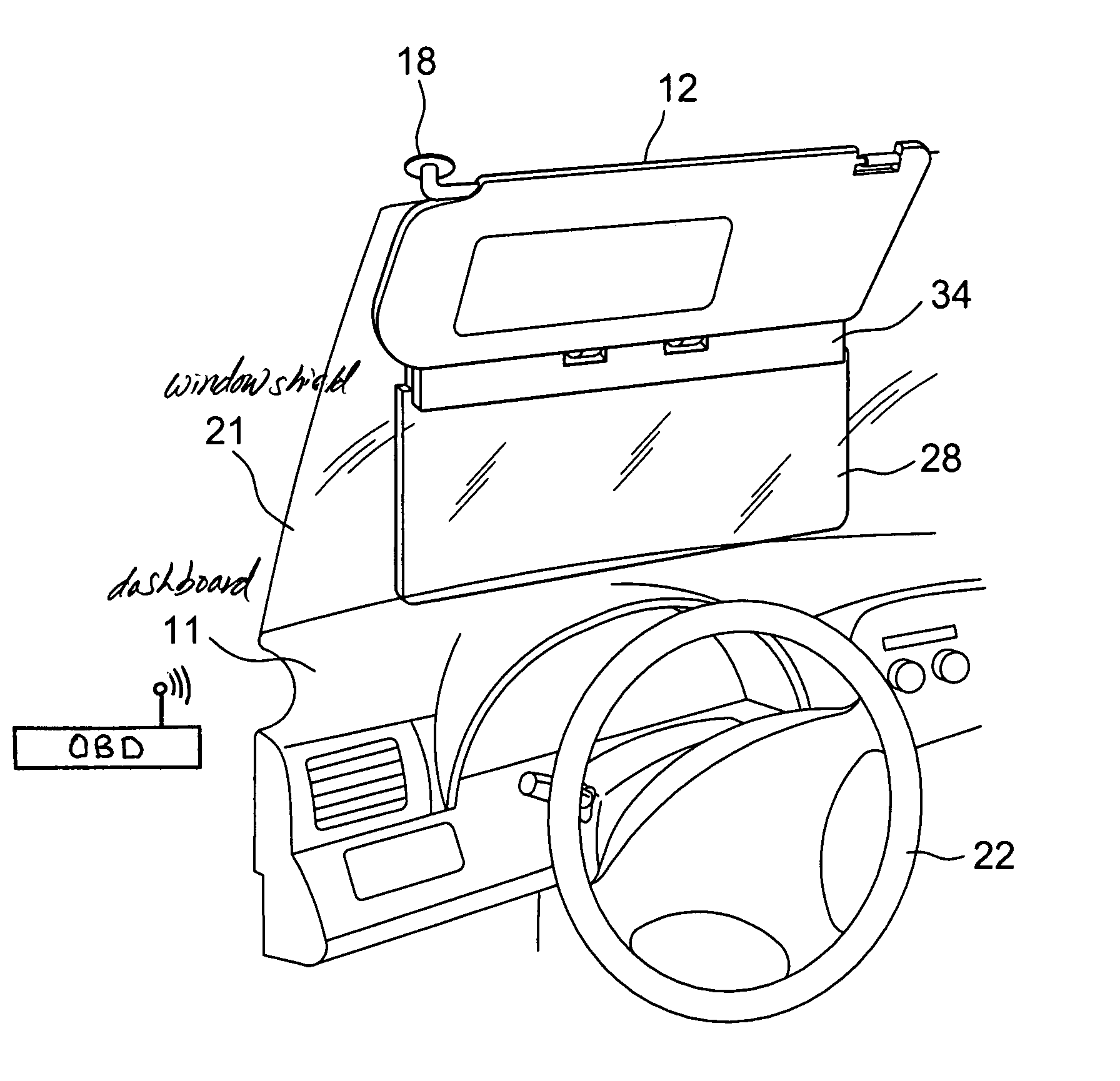 Patent US7413233 - Vehicle sun visor with auto-shading prompter ... | {Auto cockpit beschreibung 18}
