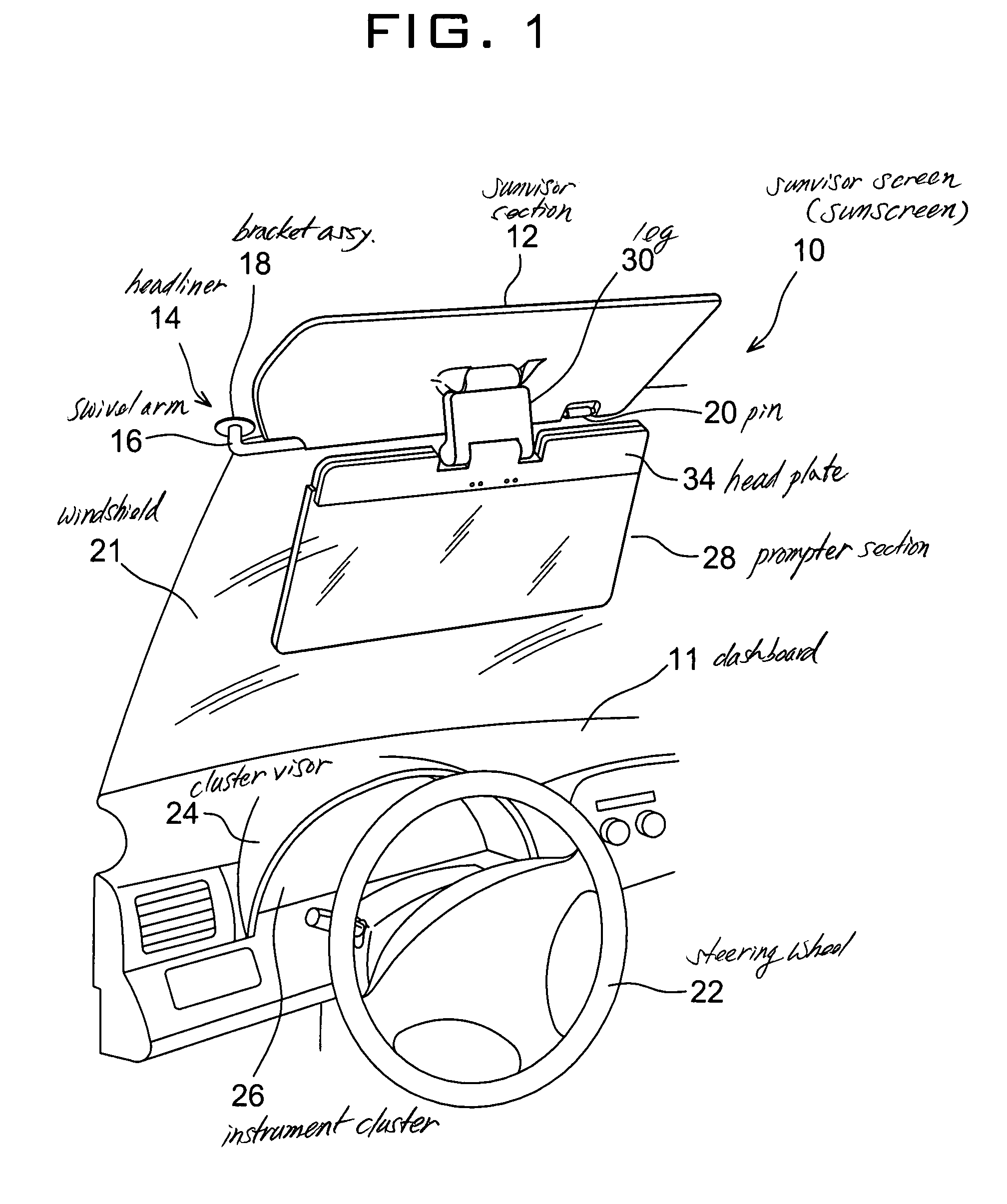 Patent US7413233 - Vehicle sun visor with auto-shading prompter ... | {Auto cockpit beschreibung 55}