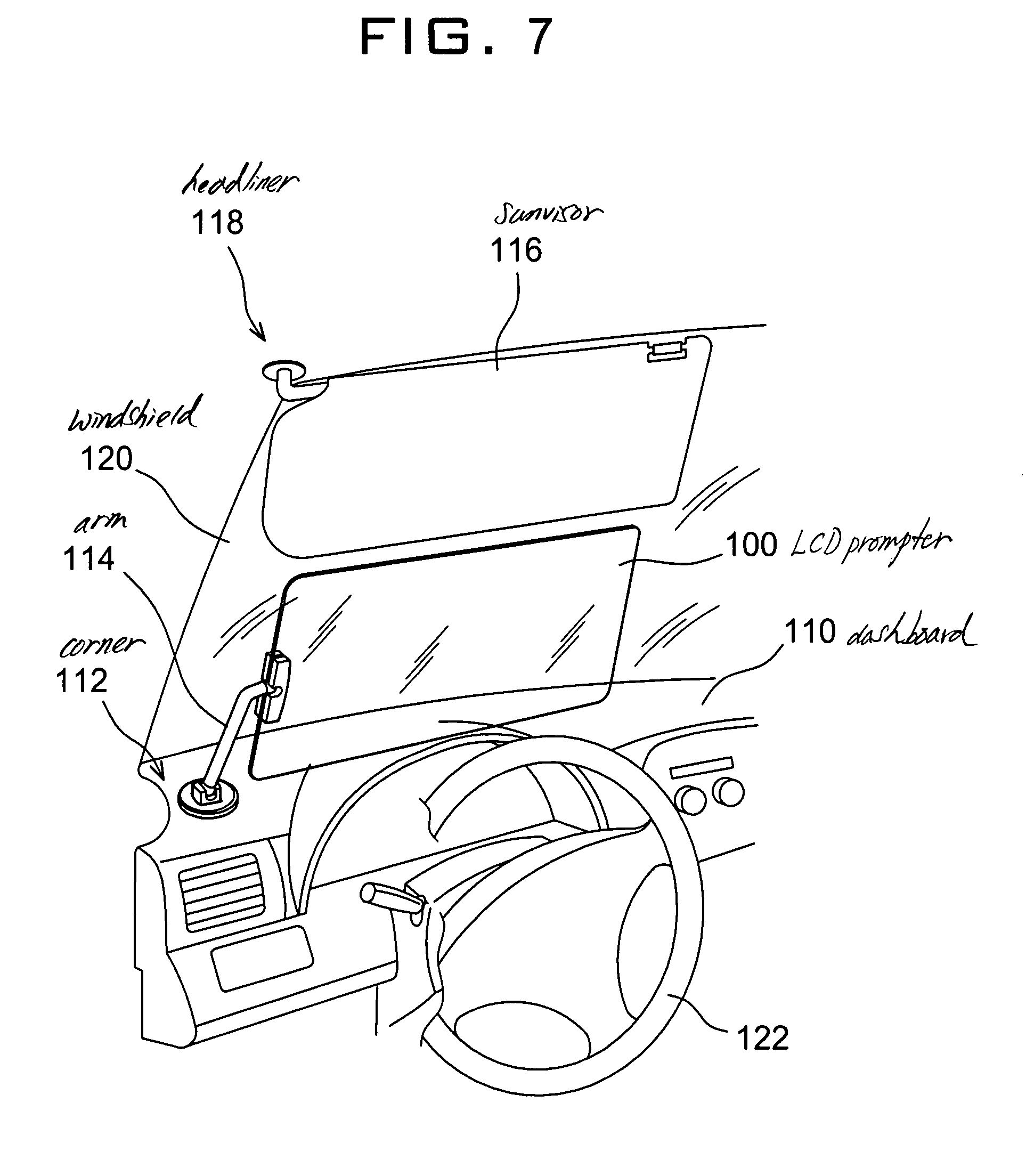 Patent US7413233 - Vehicle sun visor with auto-shading prompter ... | {Auto cockpit beschreibung 24}