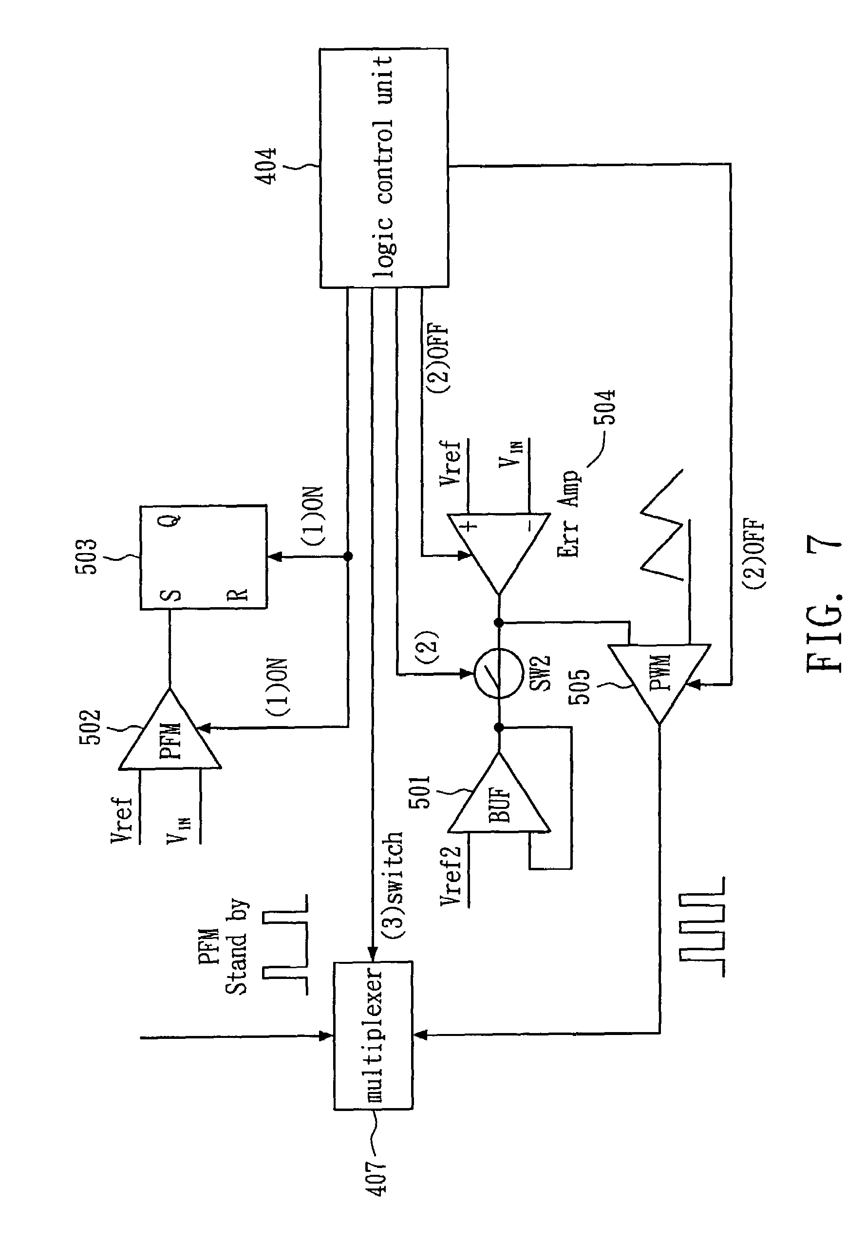 patent us7446621 - circuit and method for switching pfm and pwm