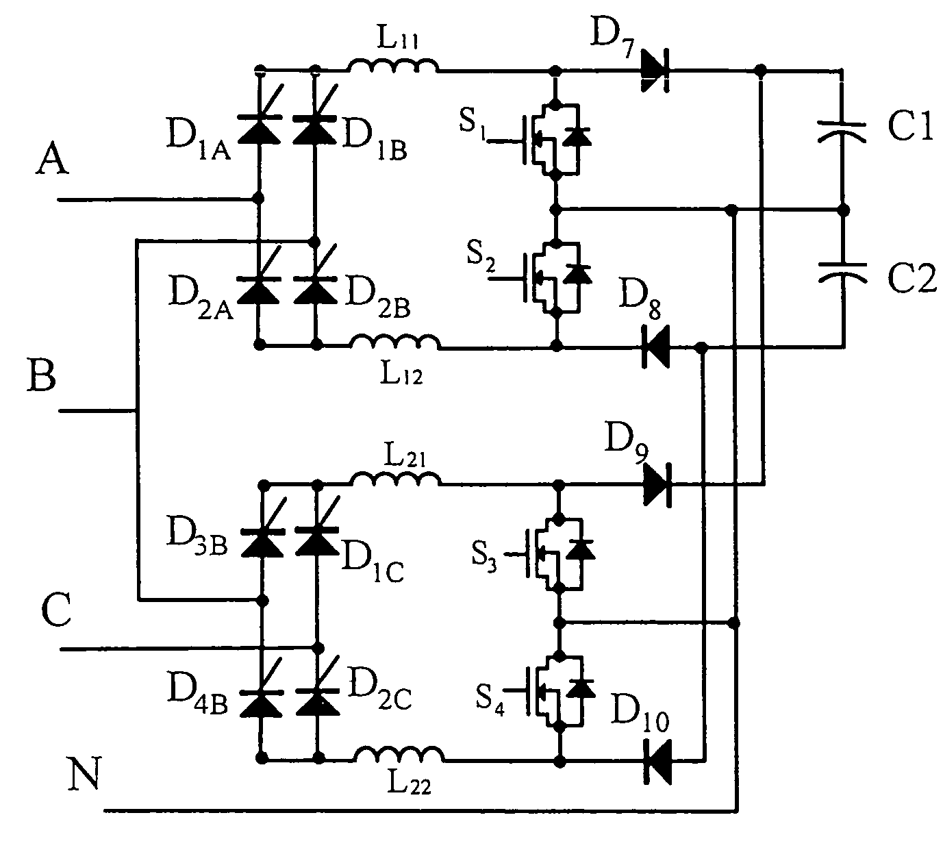 patent us7450408 - integrated converter having three-phase power factor correction