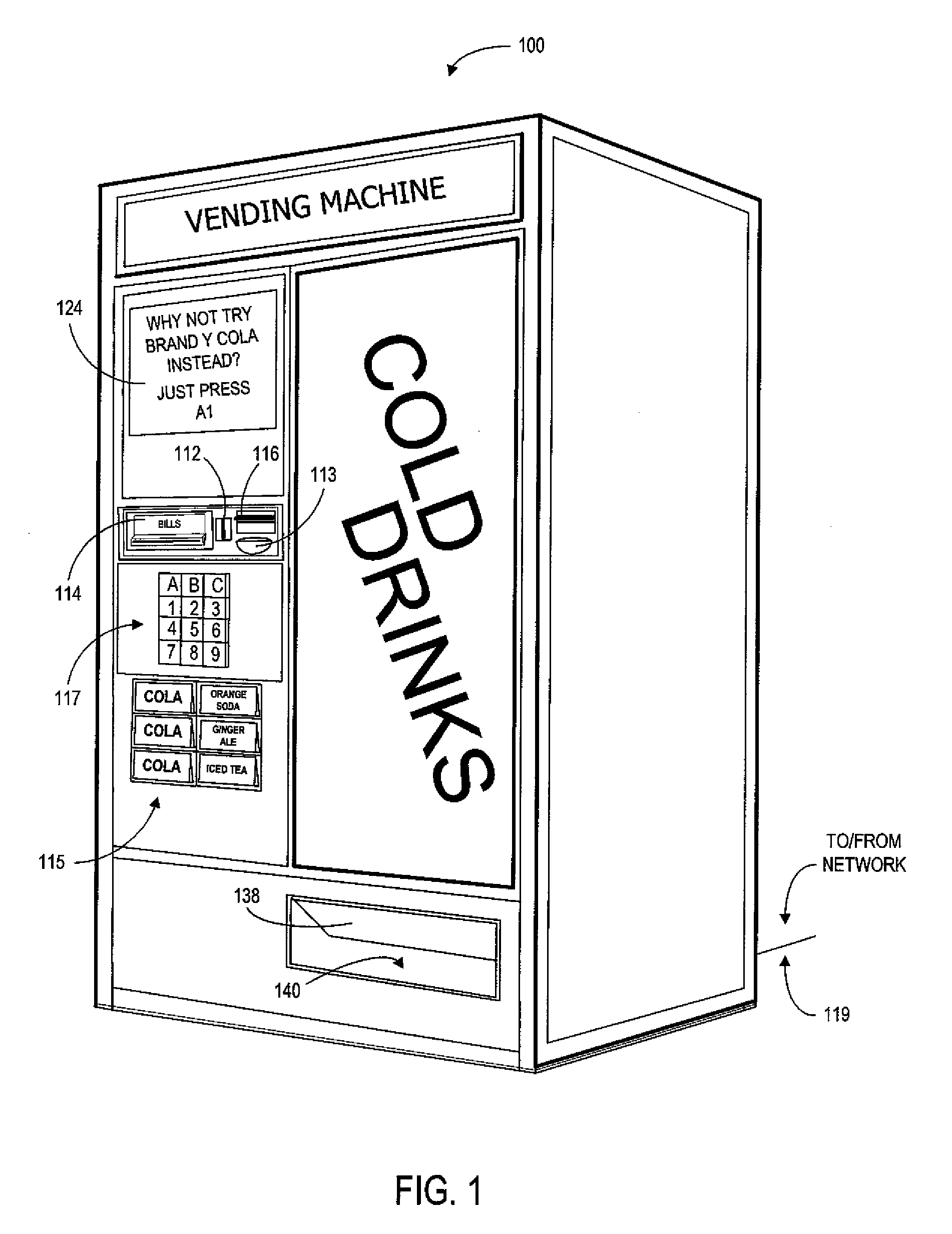 ... US07451892 20081118 D00001 patent us7451892 vending machine system and  method for Soda Vending Machine Diagram at