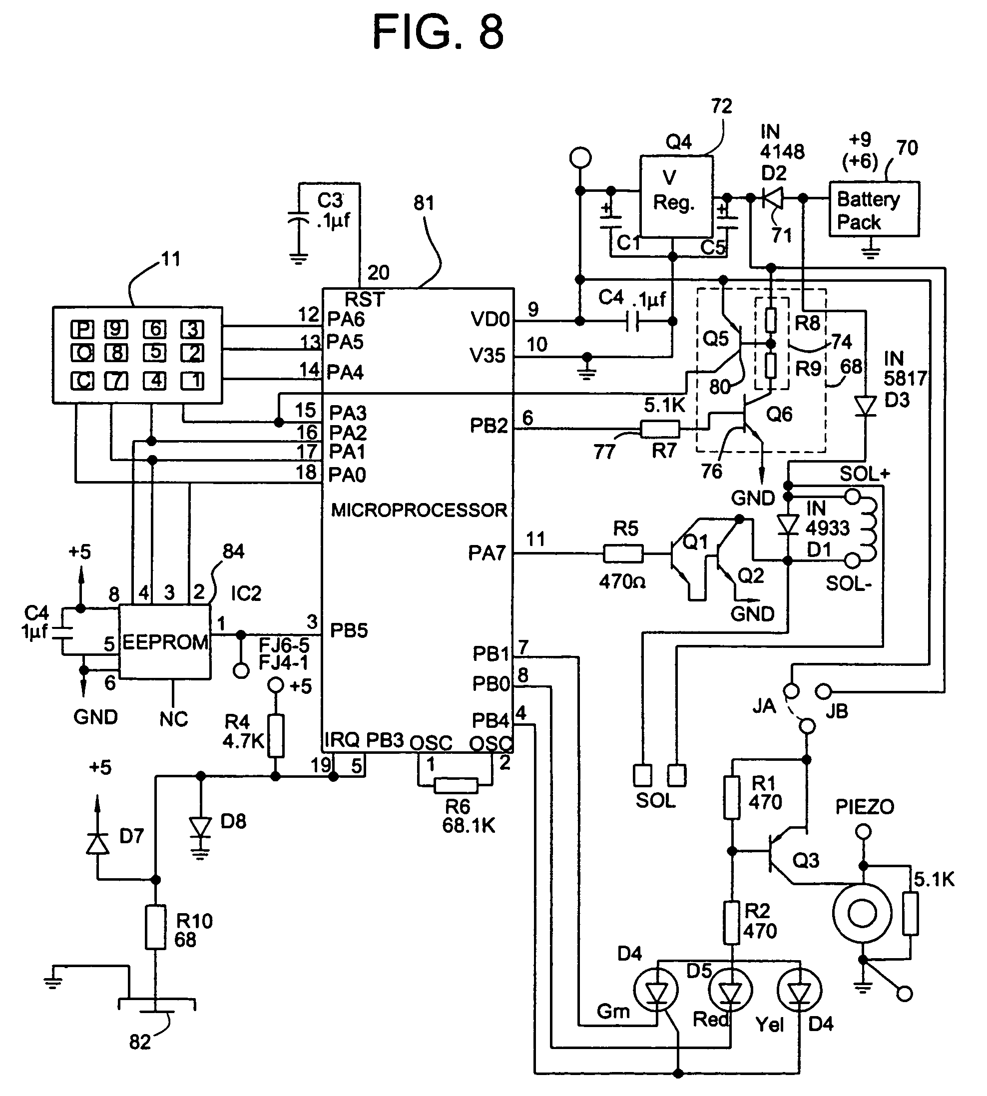 US07456725 20081125 D00008 patent us7456725 electronic access control device utilizing a sentry safe keypad wiring diagram at gsmx.co