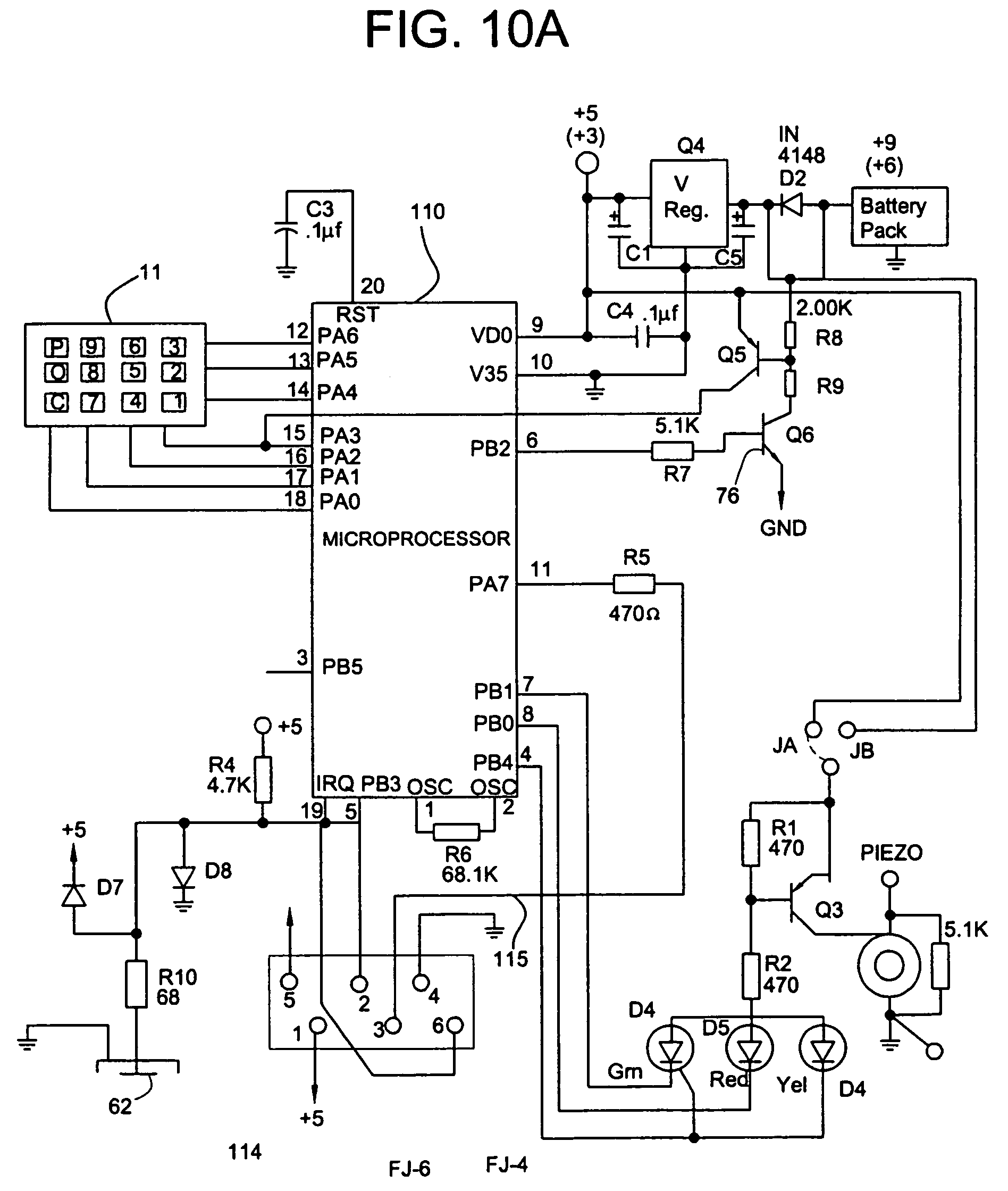 US07456725 20081125 D00010 patent us7456725 electronic access control device utilizing a sentry safe keypad wiring diagram at gsmx.co