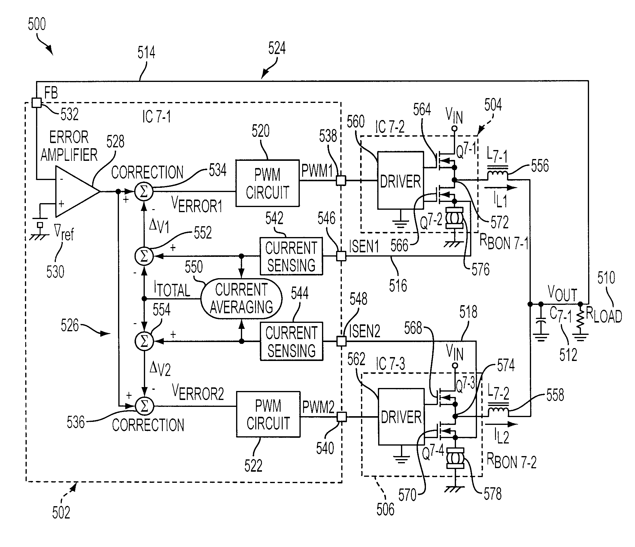 patent us7466116 current sensing circuit for a multi phase dc dc PWM Duty Cycle patent drawing