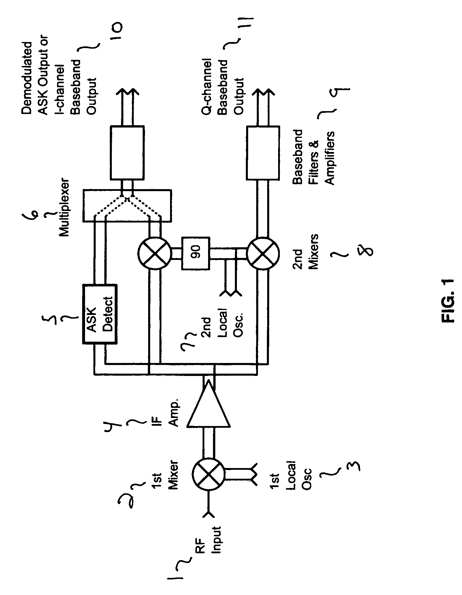 Patent Us7512395 Receiver And Integrated Am Fm Iq Demodulators For Schematic Of The Third Rf Amplifier Envelope Detector Drawing