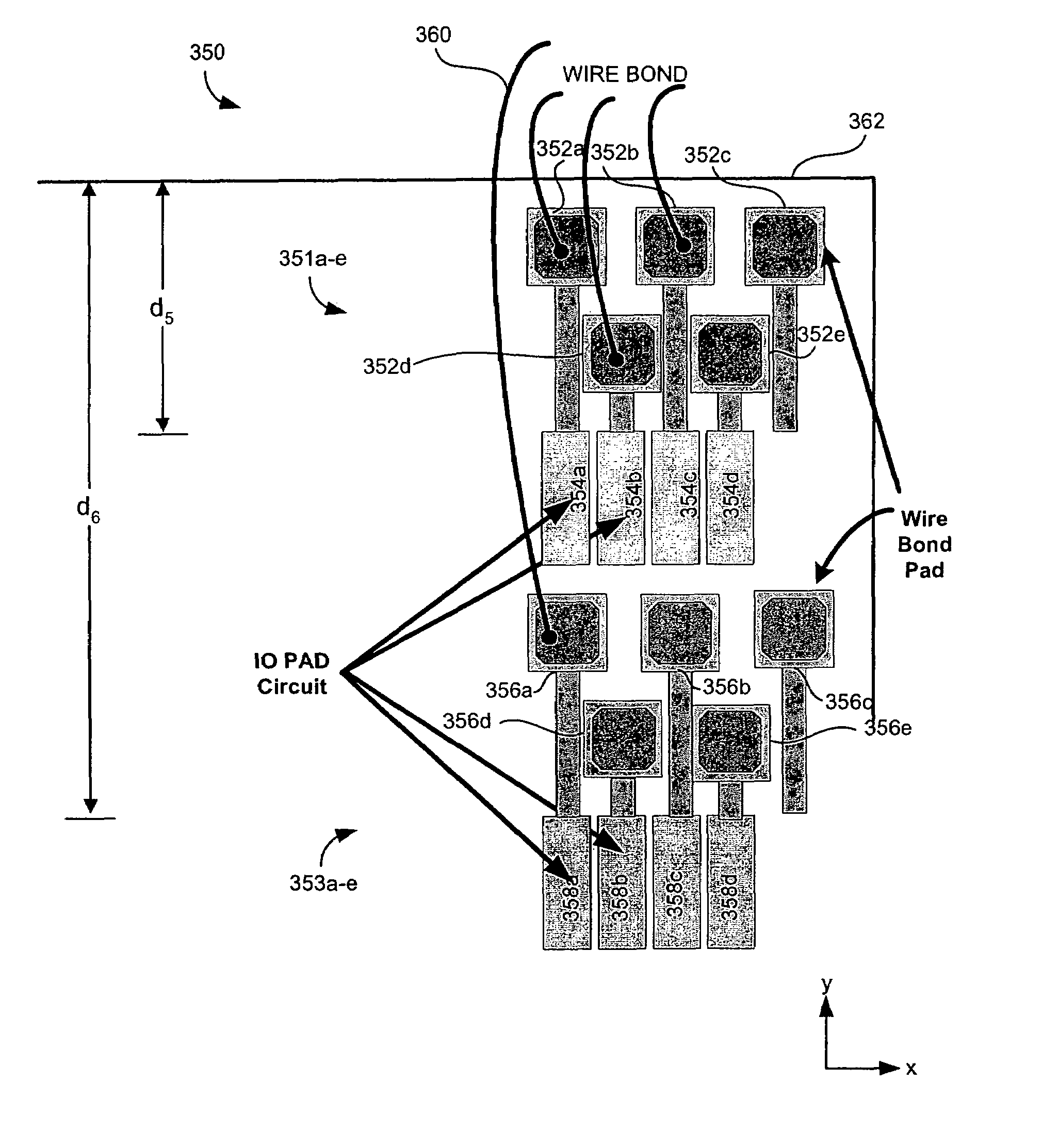 patent us7528484 - multi-concentric pad arrangements for integrated circuit pads
