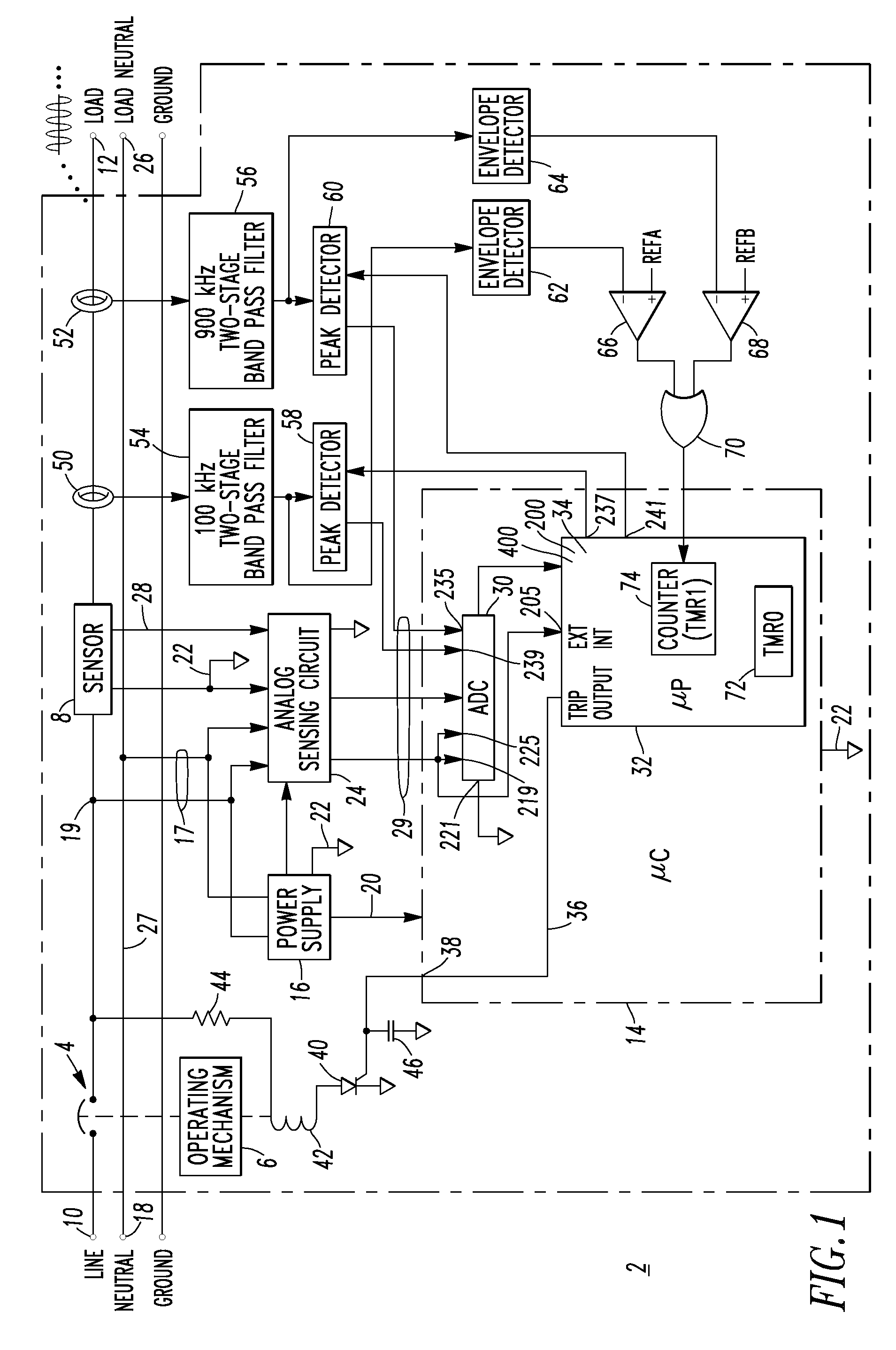 Patent Us7558033 Arc Fault Circuit Interrupter And Method Of Pass Seymour Arcfault Afci Drawing