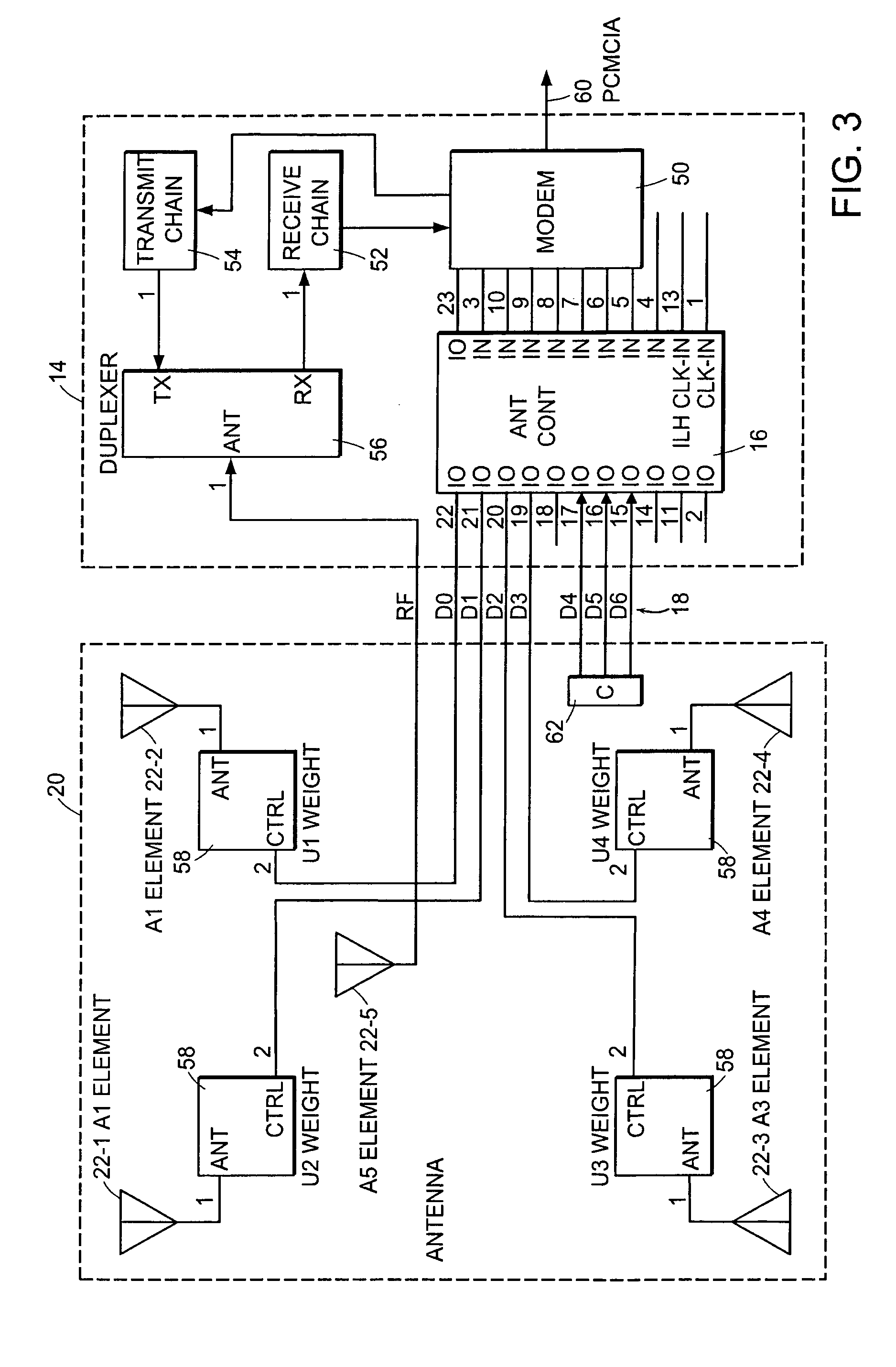 patent us7580674 - intelligent interface for controlling an adaptive antenna array