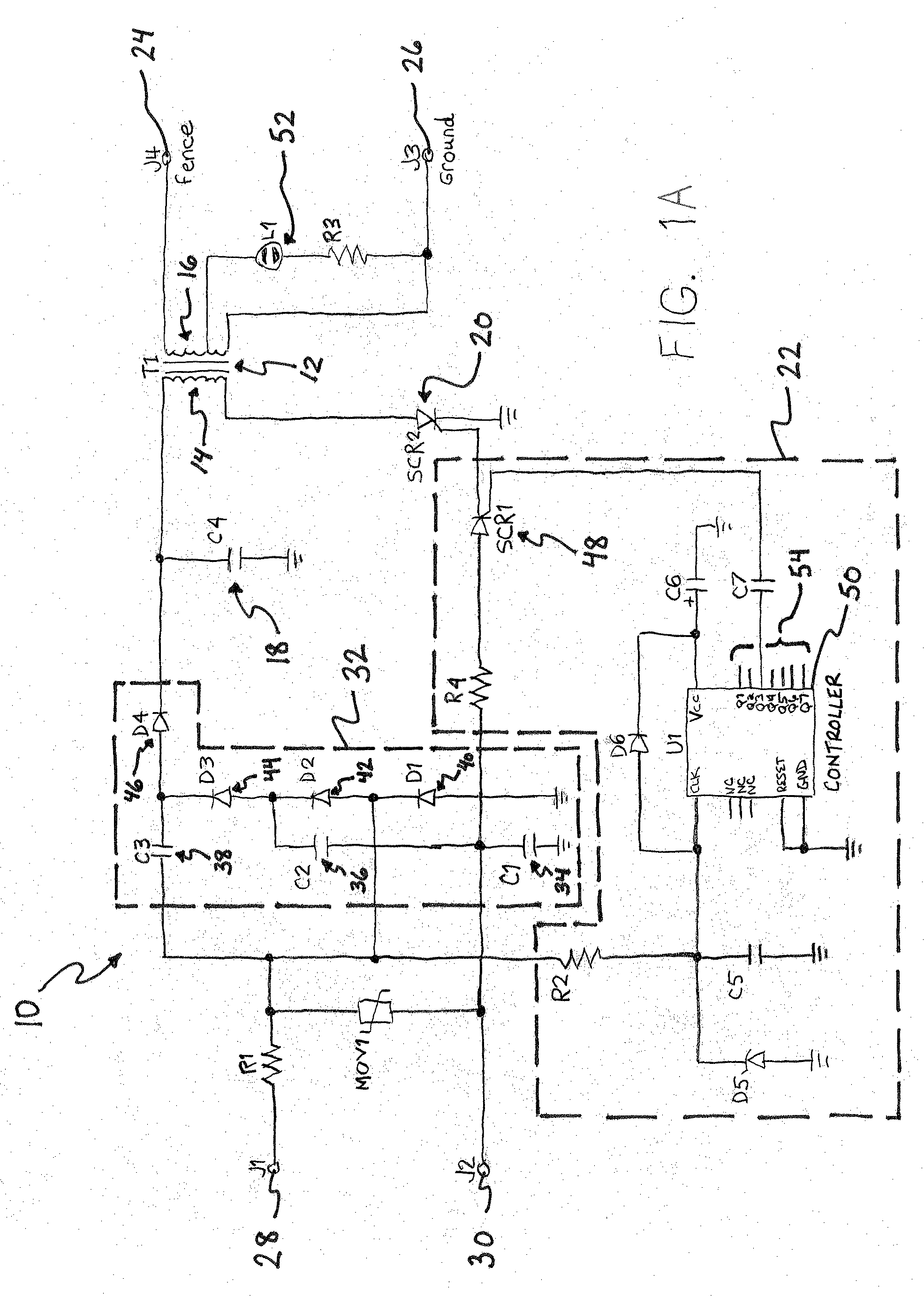 Patent US7582988 Lethal electric fence energizer