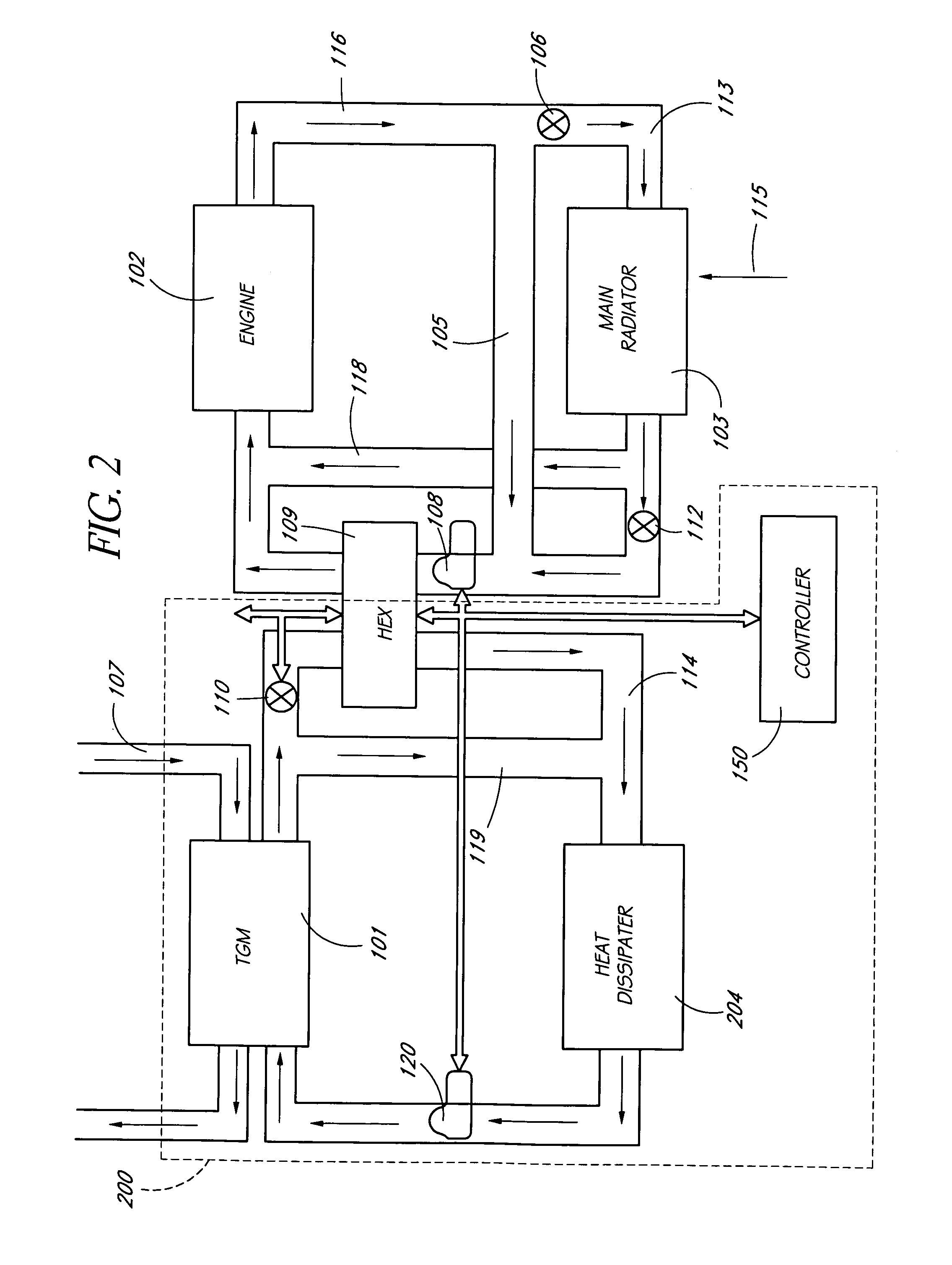 patent us7608777 - thermoelectric power generator with intermediate loop