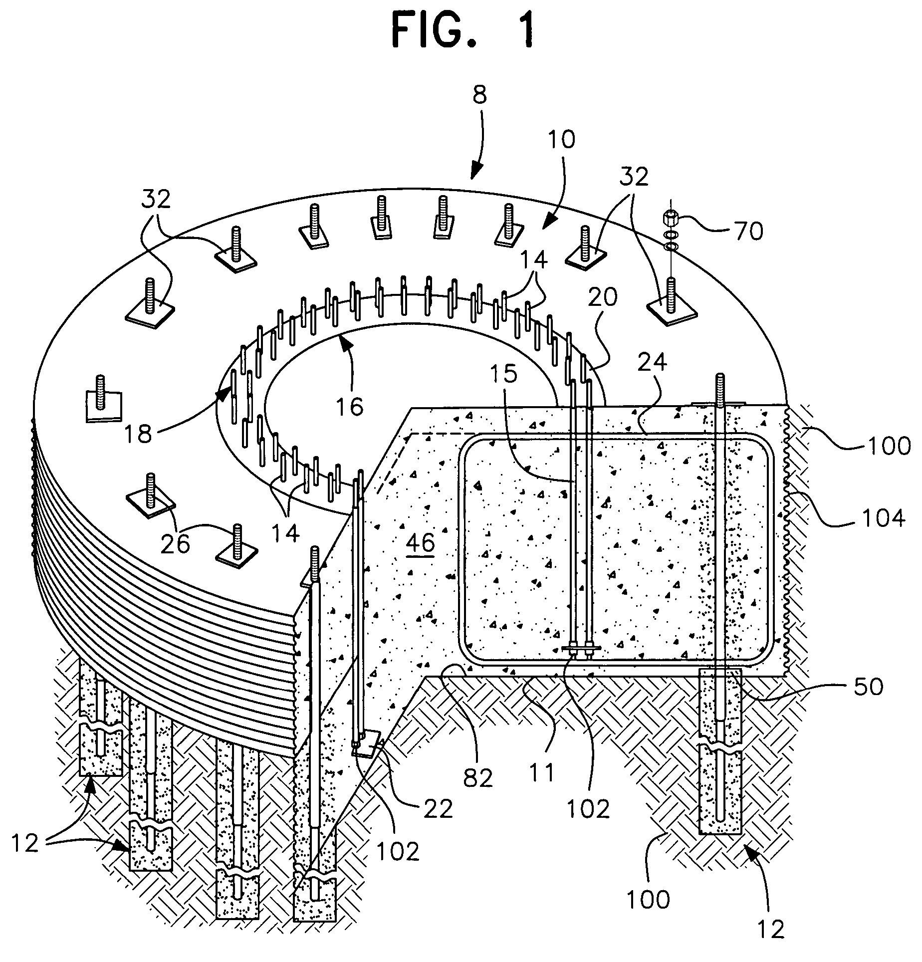 Patent us post tension pile anchor foundation and