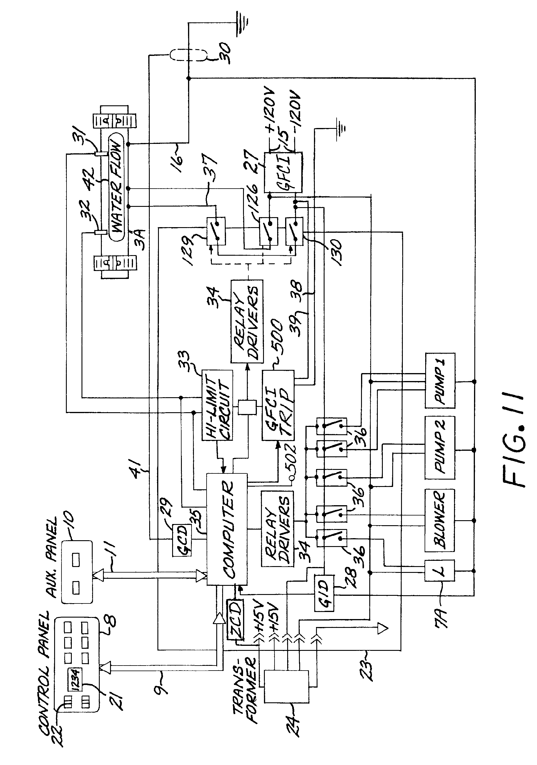 Patent Us7626789 Shutoff System For Pool Or Spa Google Patents At Light Fixture Box Proceeds To First 3way Switch A 4 Drawing