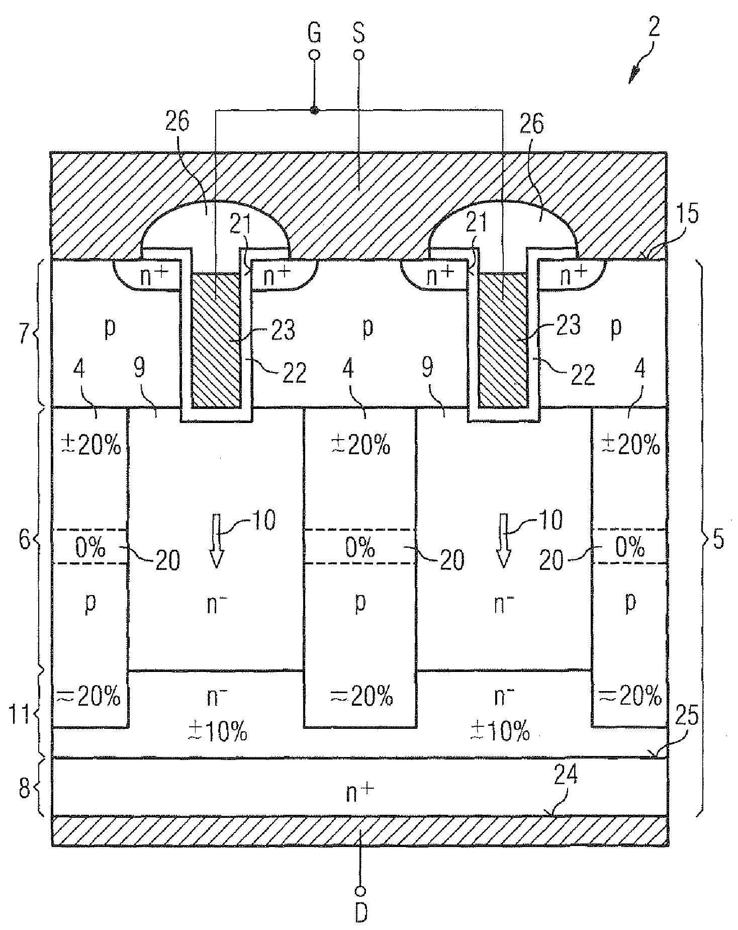 Patent US7646061 - Power semiconductor component with charge