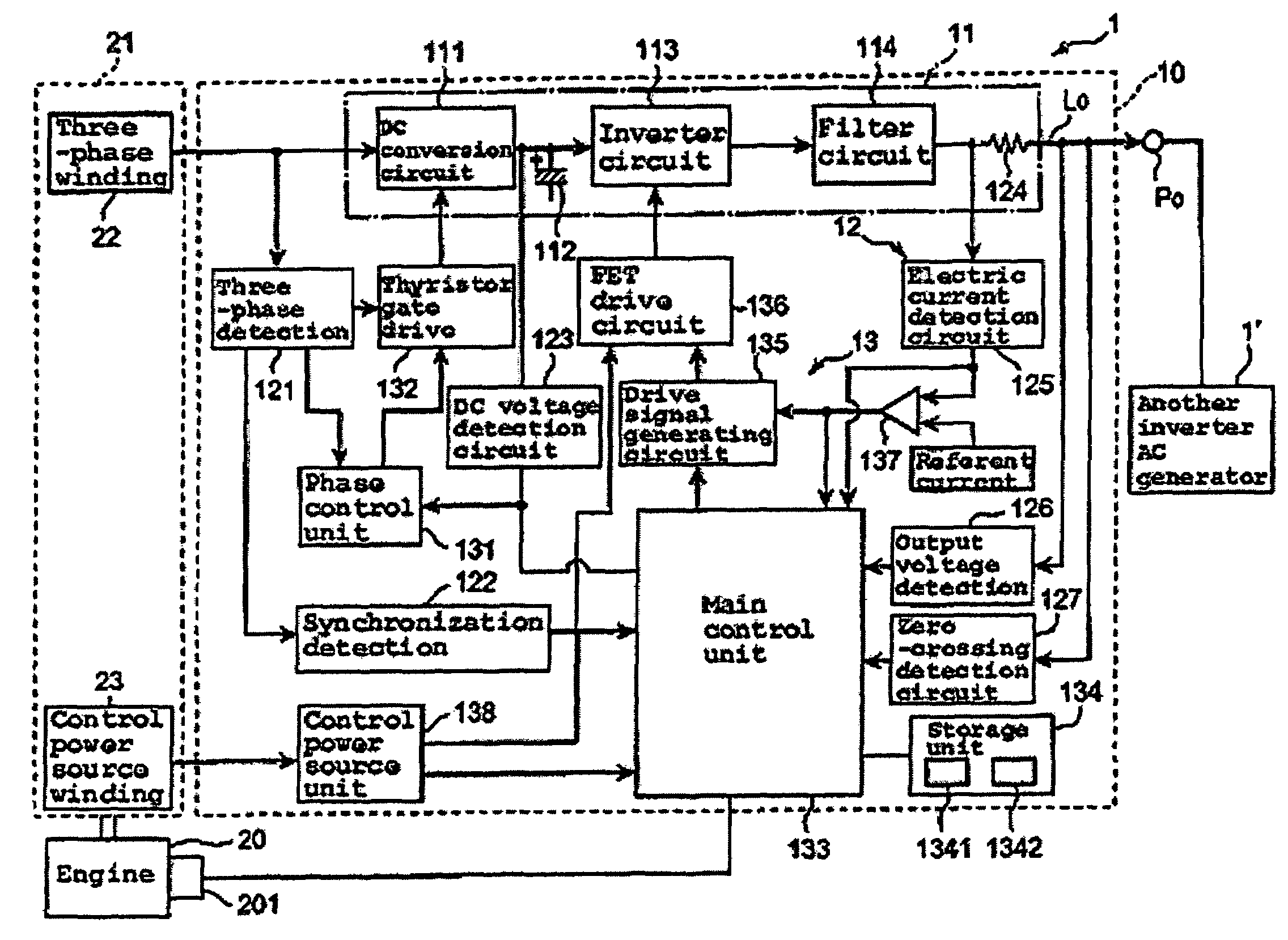 Patent Us7652900 Inverter Type Ac Generator With A Zero Crossing Circuit Drawing