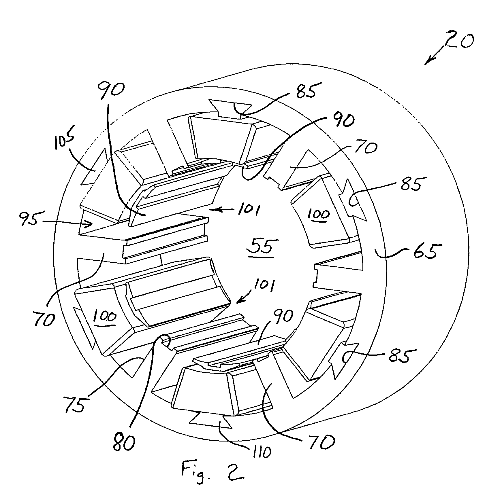 patent us7737598 - electric motor having a stator