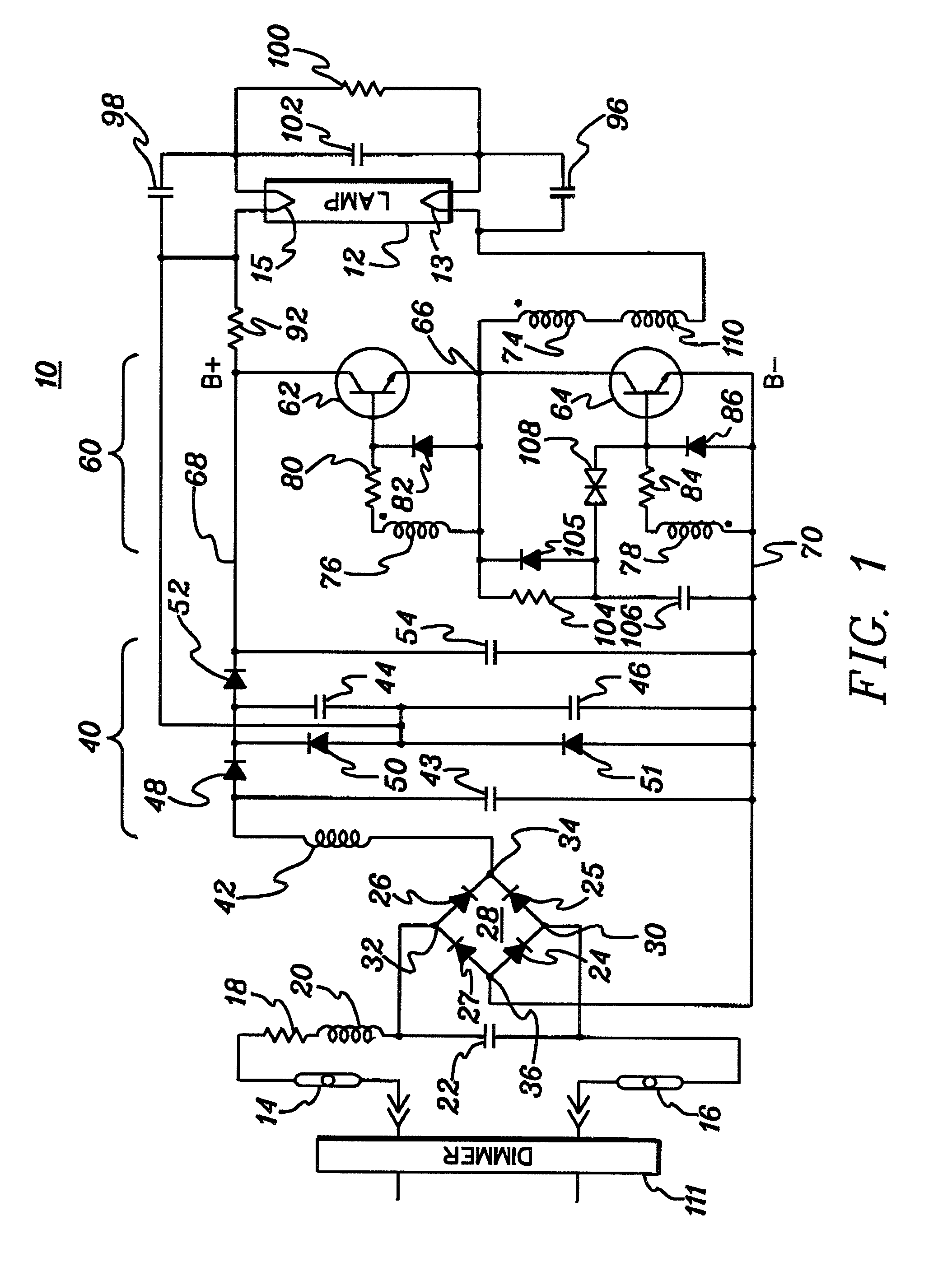 patent us7750580 dimmable high power factor ballast for gas DIAC Renault patent drawing