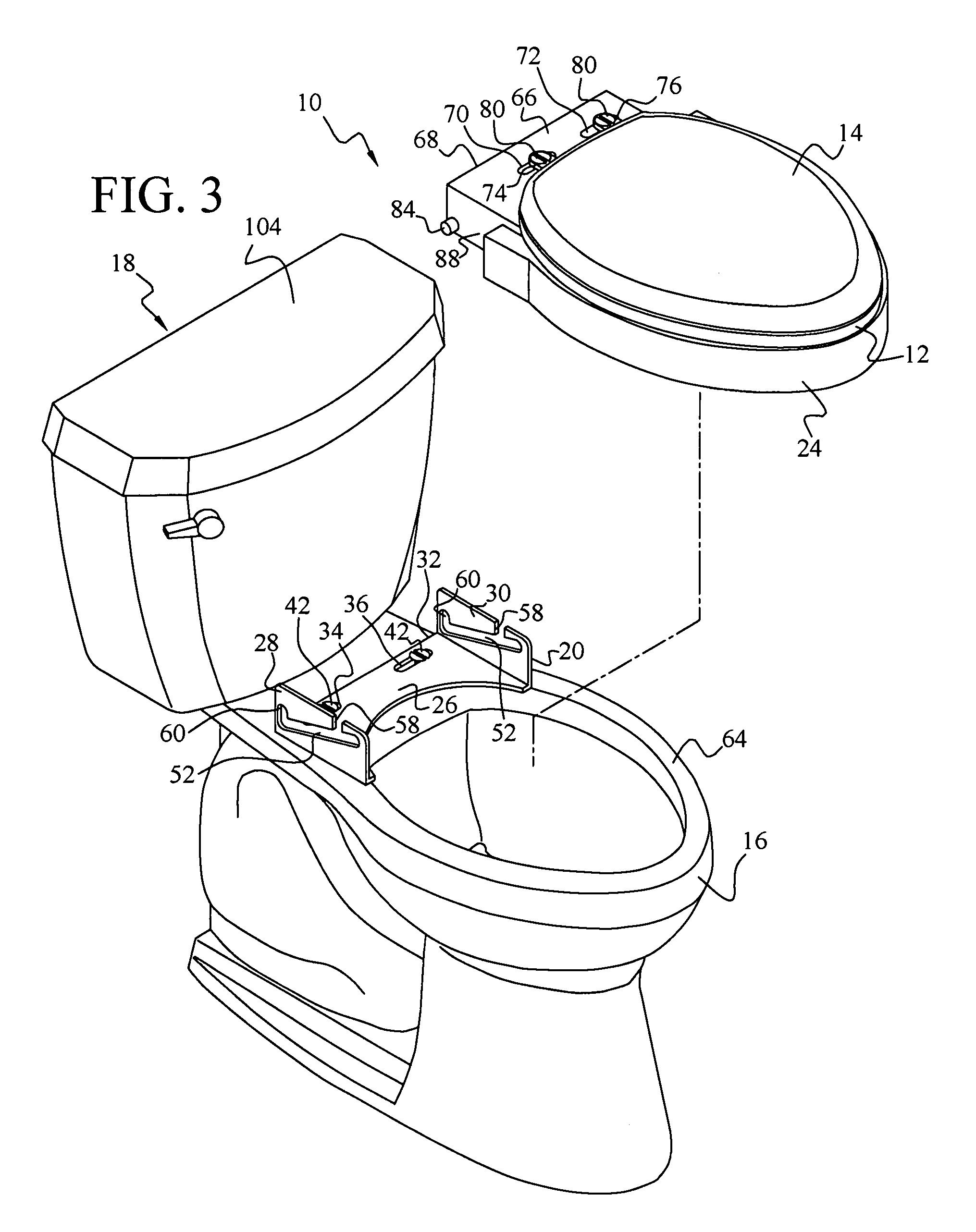 patent us7774868 toilet seat elevator assembly google patents. Black Bedroom Furniture Sets. Home Design Ideas
