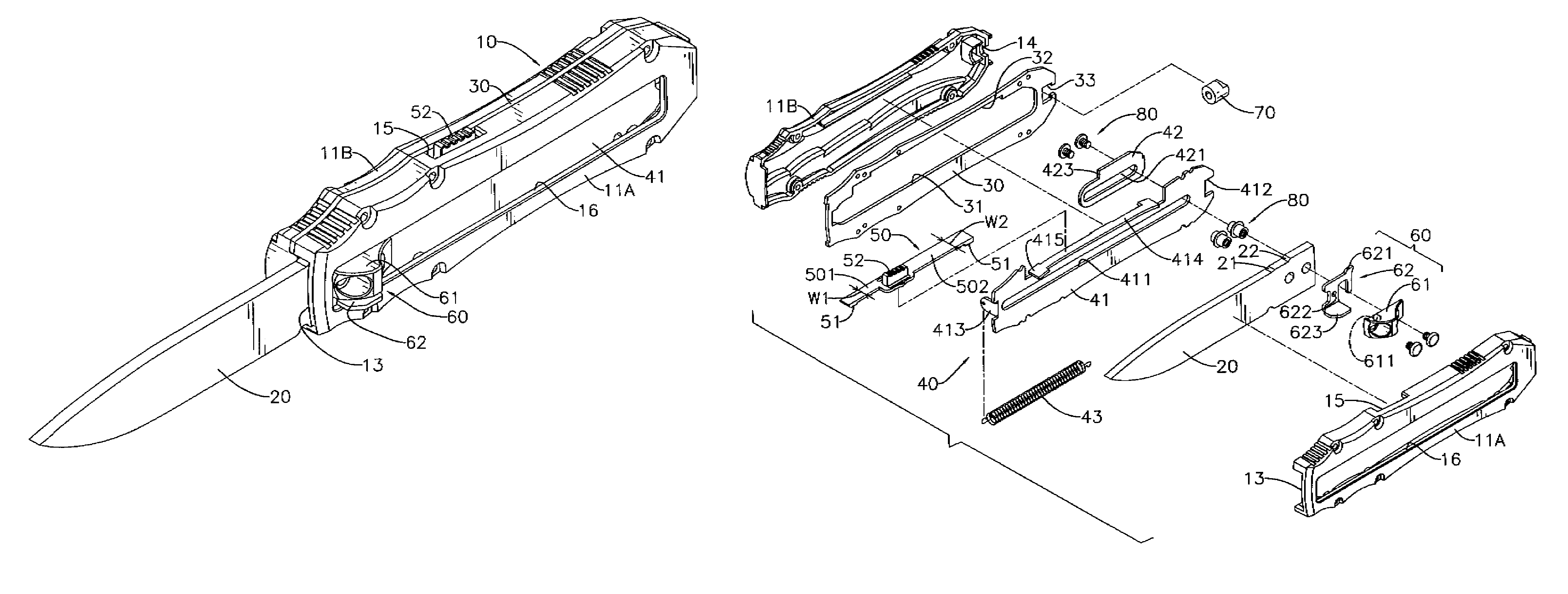 patent us7797838 retractable blade knife with opening