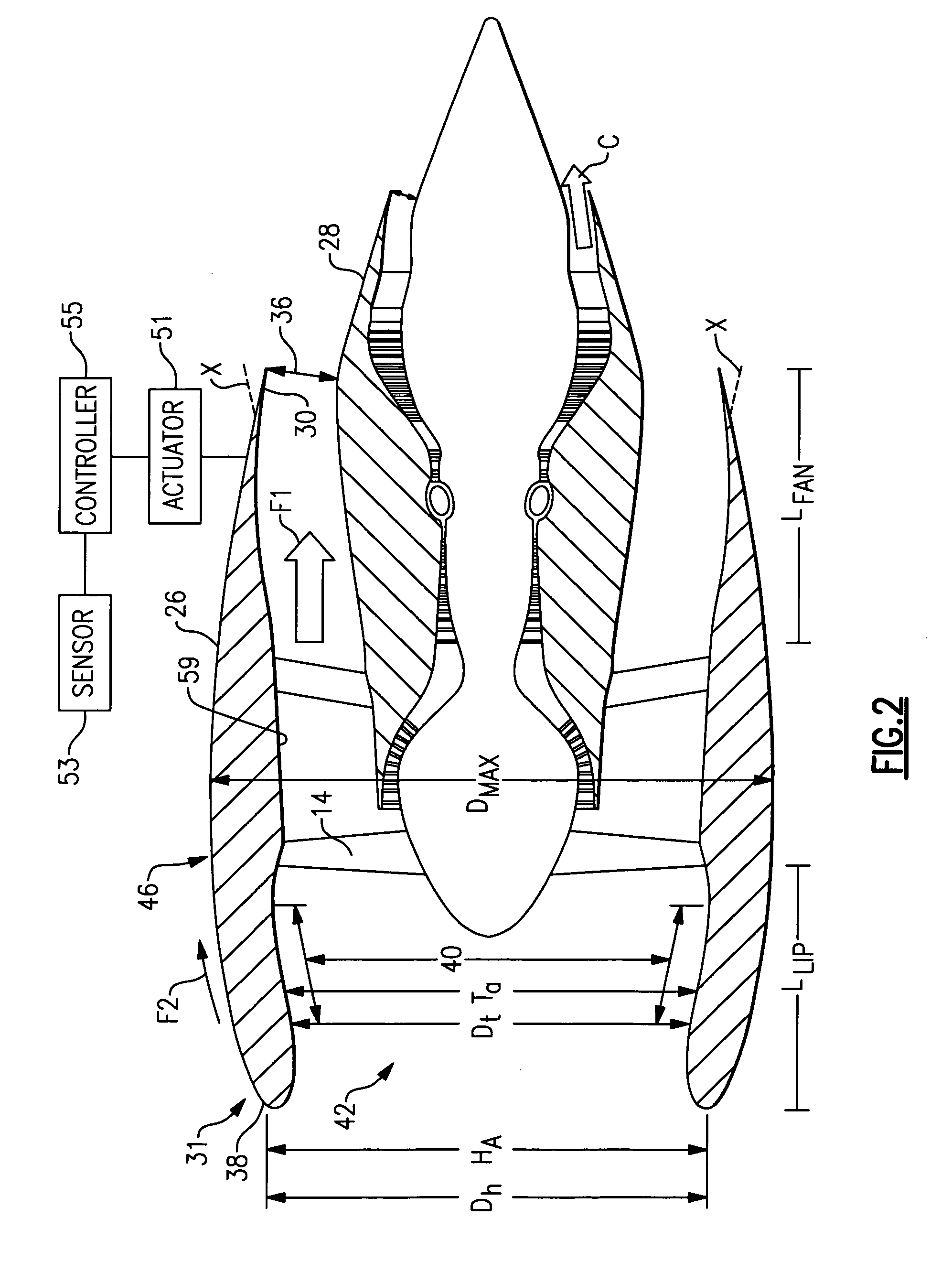 Patent US7797944 - Gas turbine engine having slim-line nacelle - Google Patents