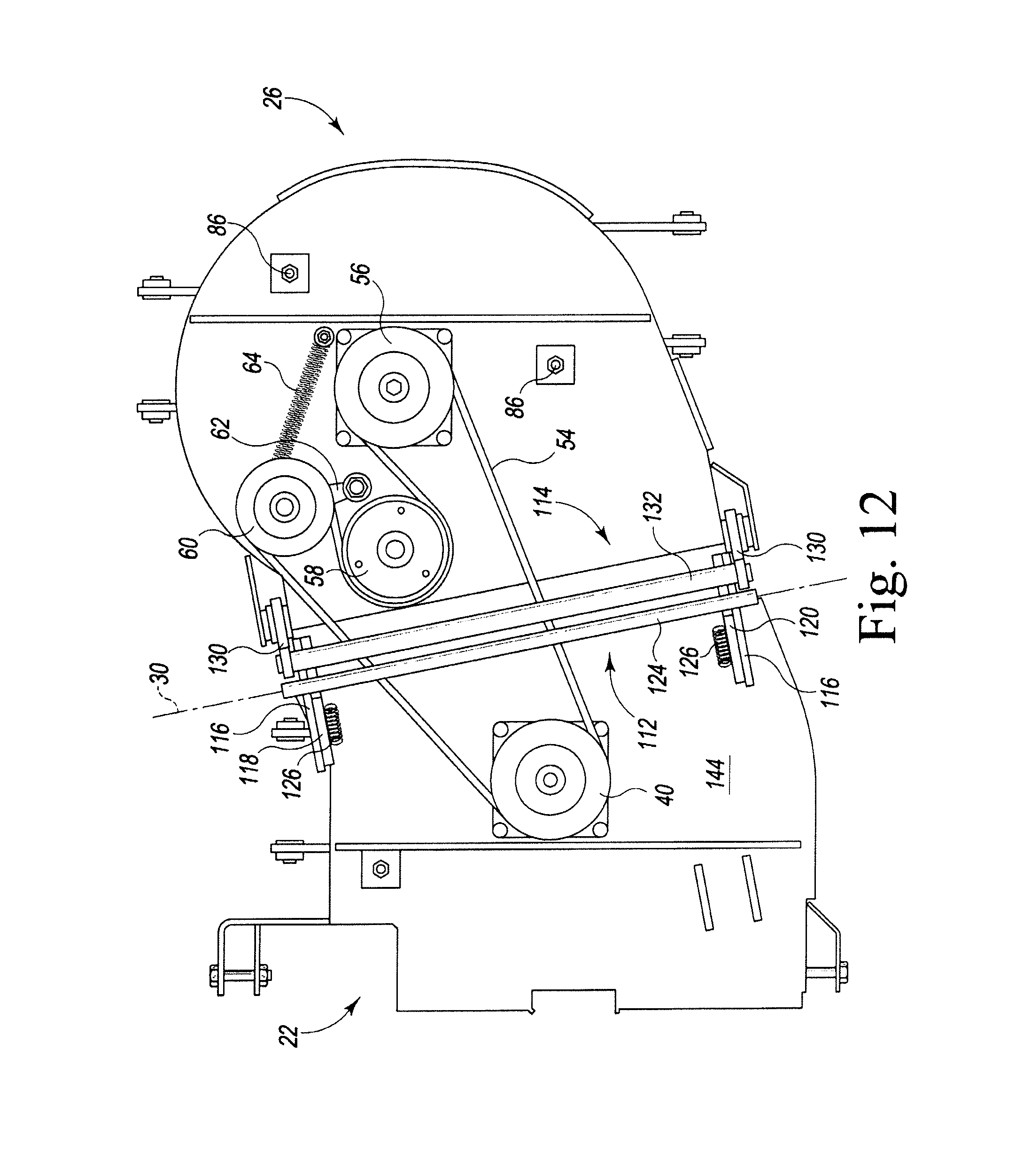 patent us7841157 latch for a pivoting mower deck patents John Deere 318 50 Inch Mower Deck patent drawing