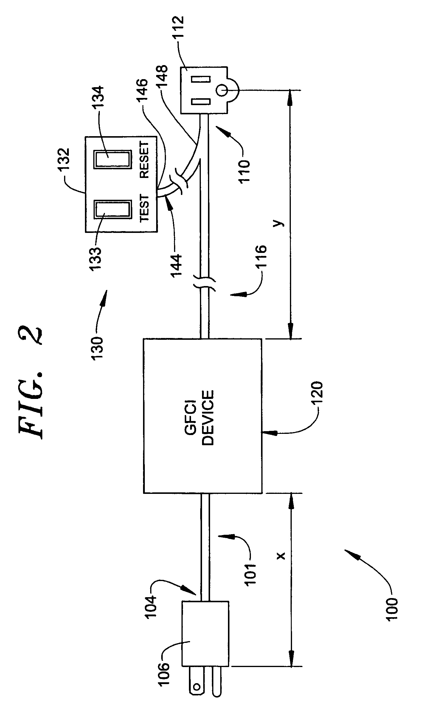 Patent Us7869168 Power Cord With Gfci Device And Remote Test Reset Wiring Multiple Outlets Diagram Furthermore 20 Outlet Drawing