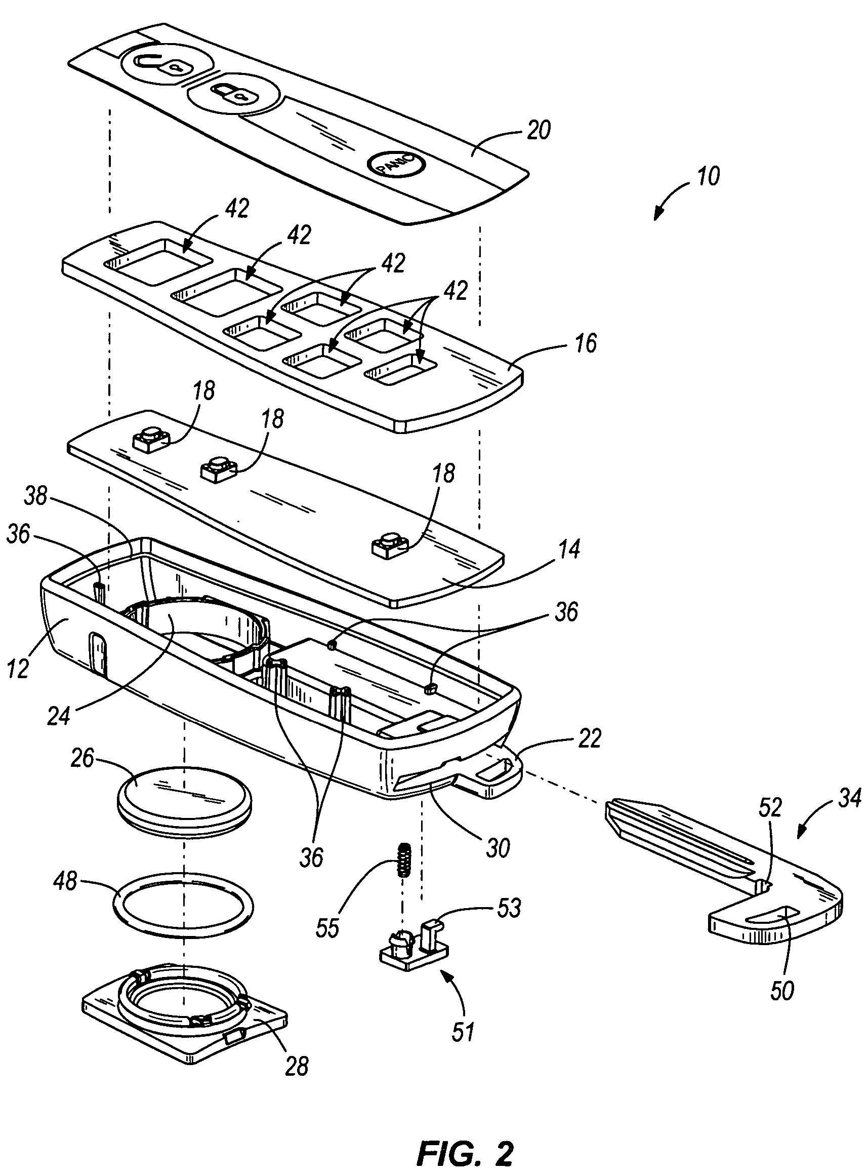 patent us7897888 - key fob device and method