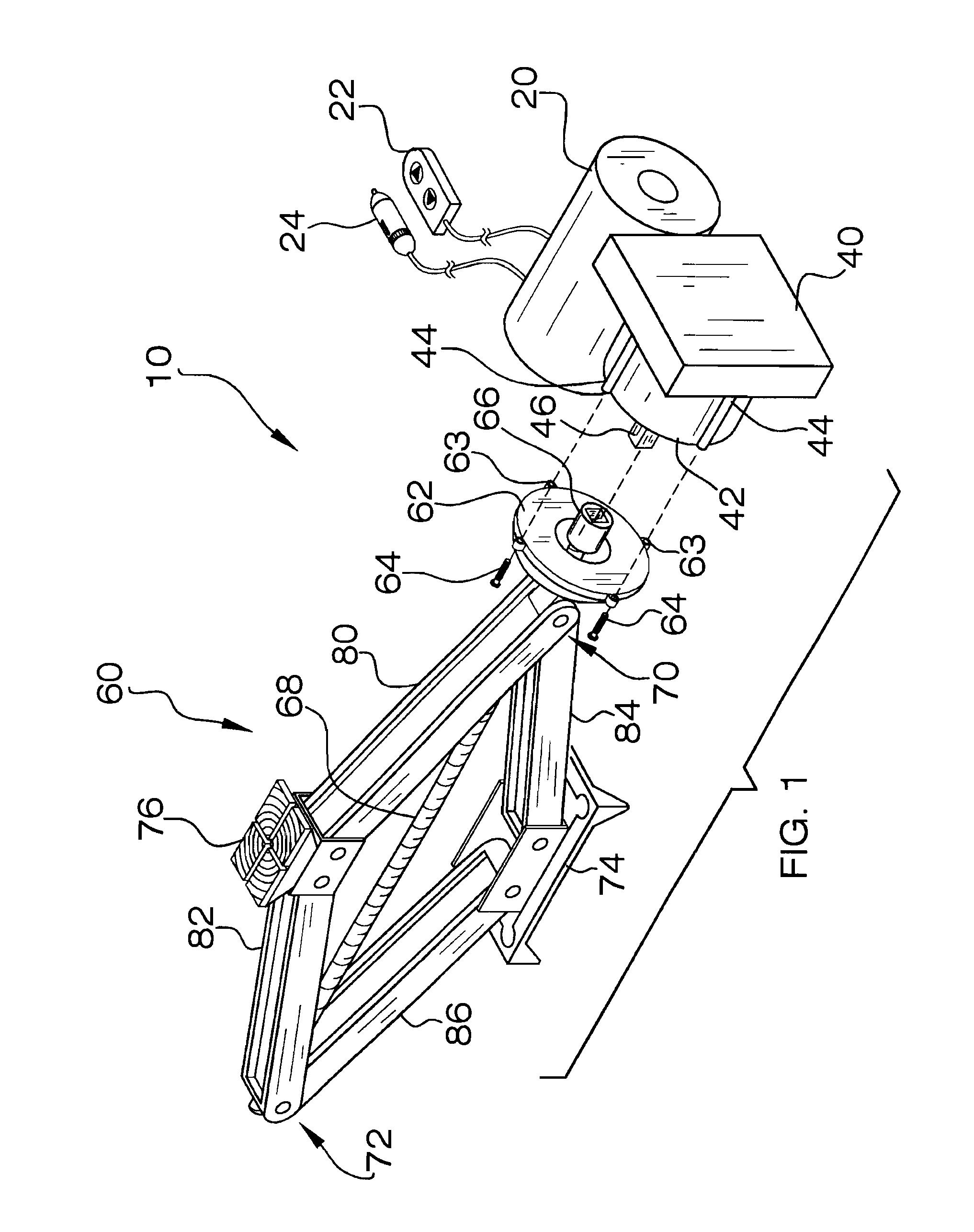Patent US7988131 - Electric scissor jack apparatus - Google Patents