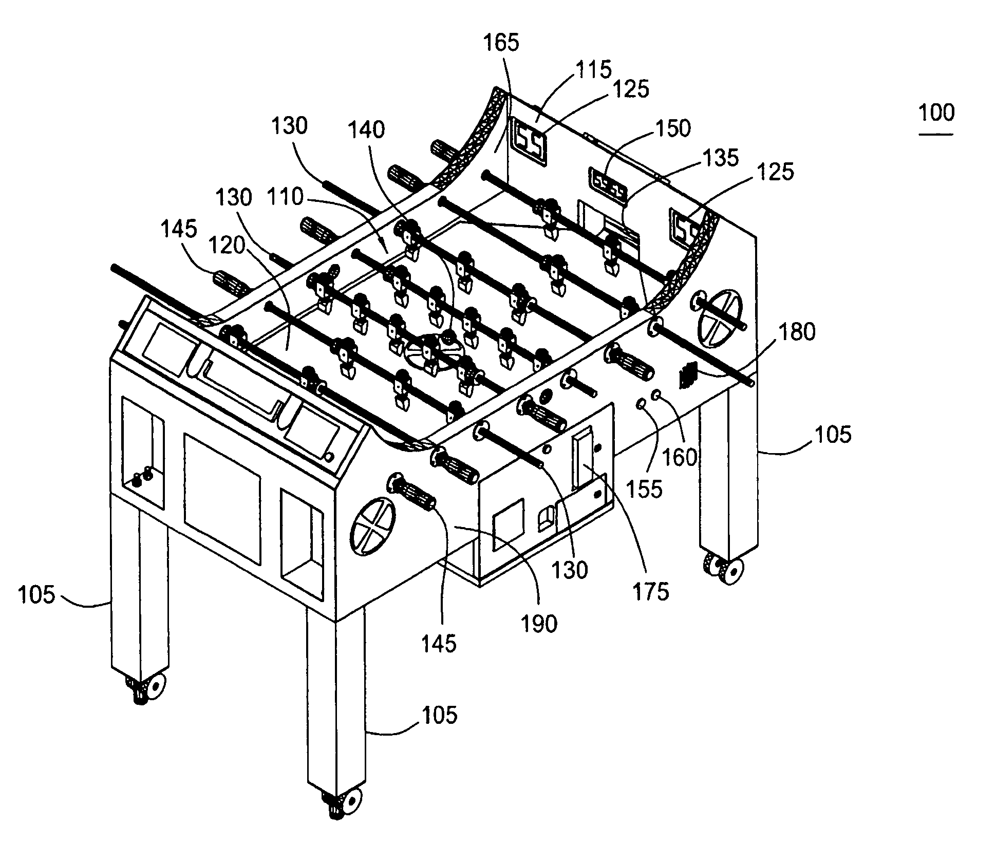 Patent Us7992872 Foosball Table Google Patents