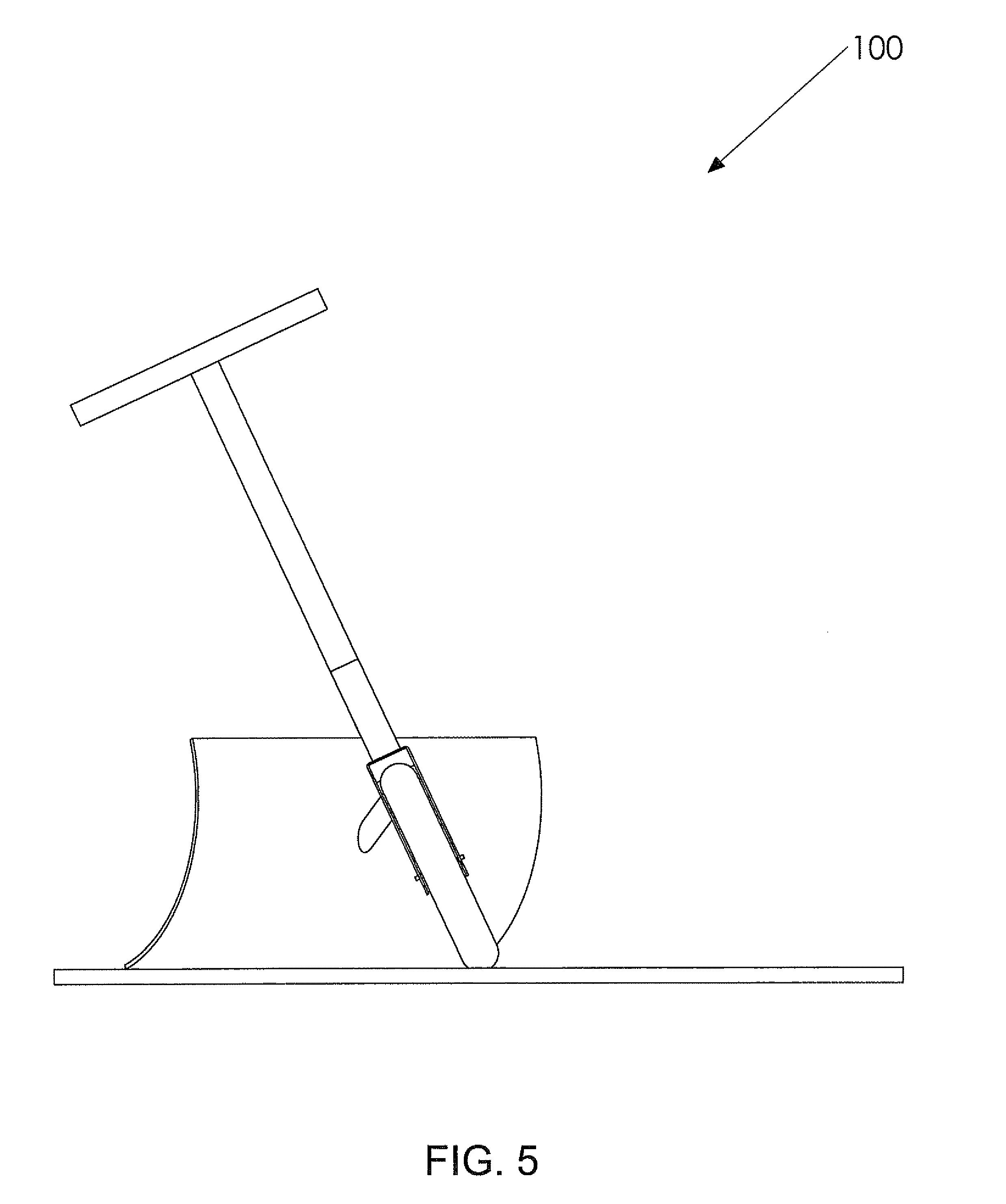us8001707 manually operated wheeled snow shovels Long Handle Spade Shovel patent drawing
