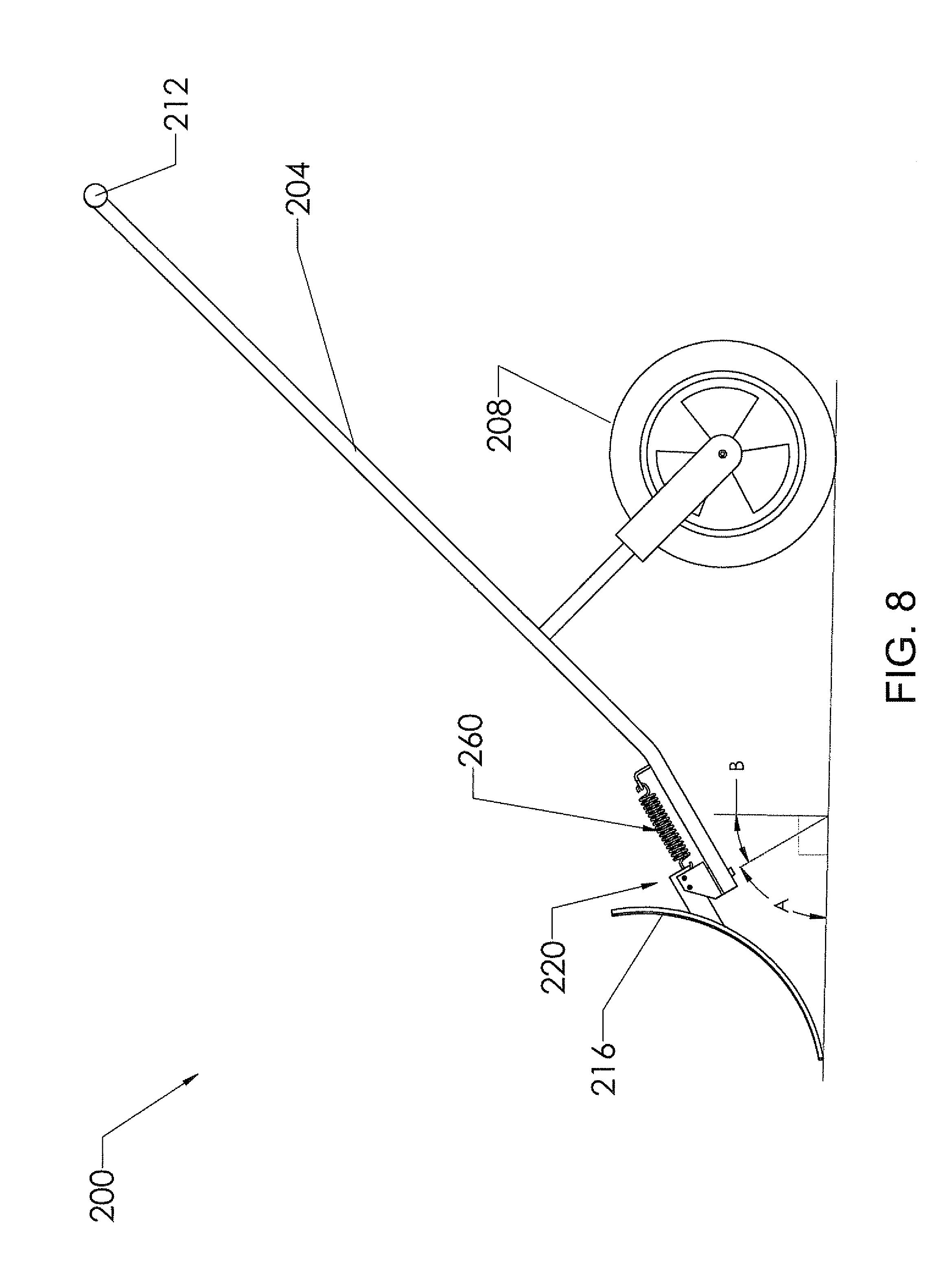 us8001707 manually operated wheeled snow shovels Shovel Handle patent drawing