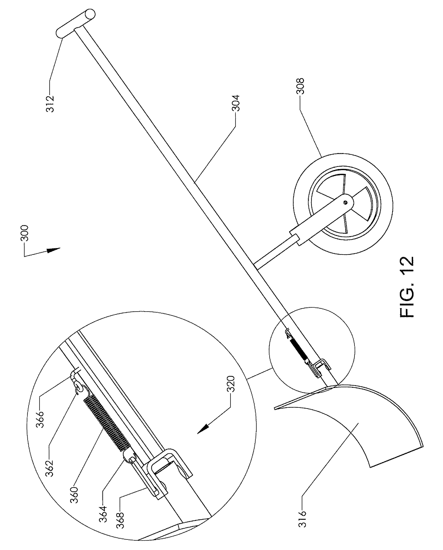 us8001707 manually operated wheeled snow shovels Tree Spade Shovel patent drawing