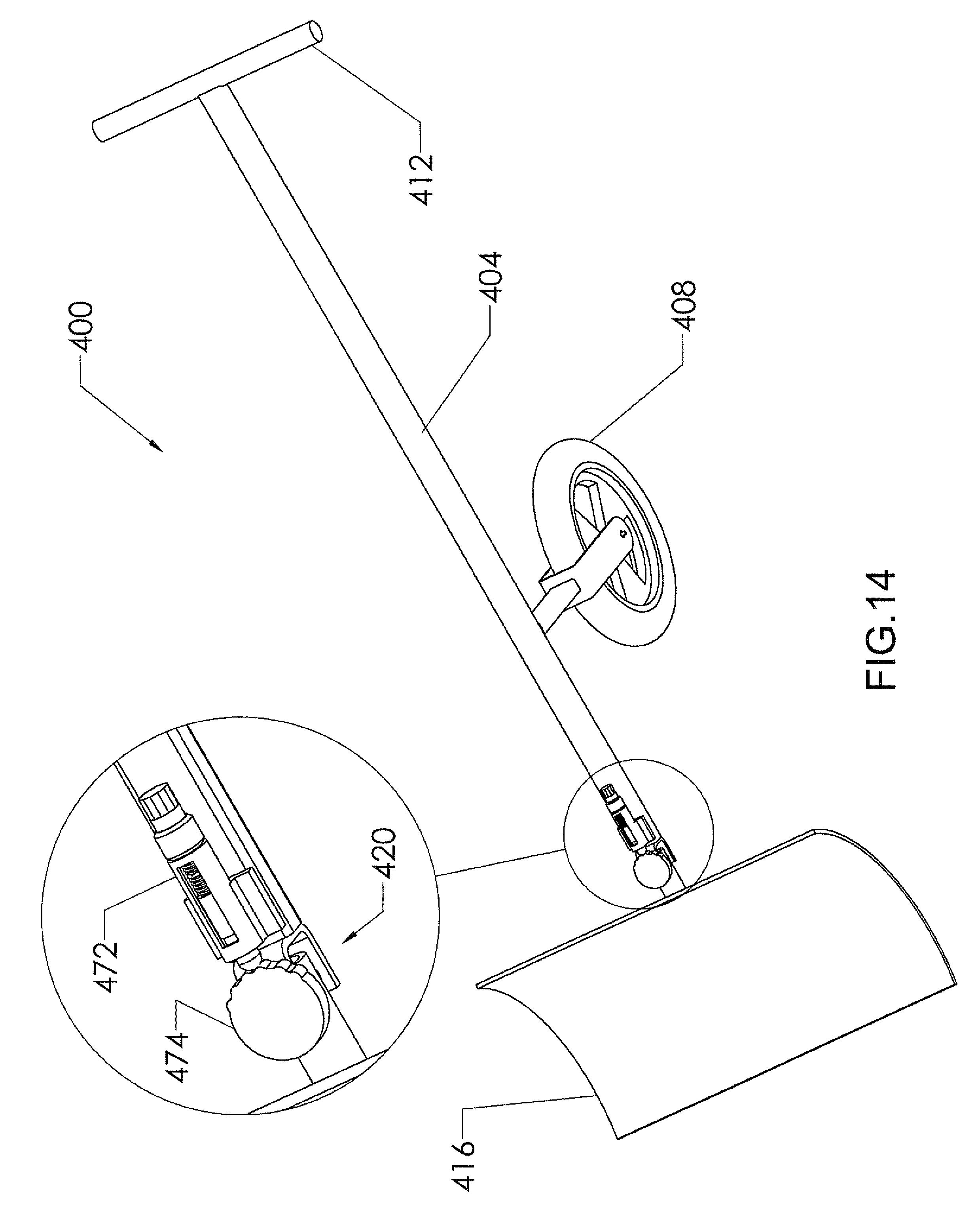 us8001707 manually operated wheeled snow shovels Spring Shovel patent drawing