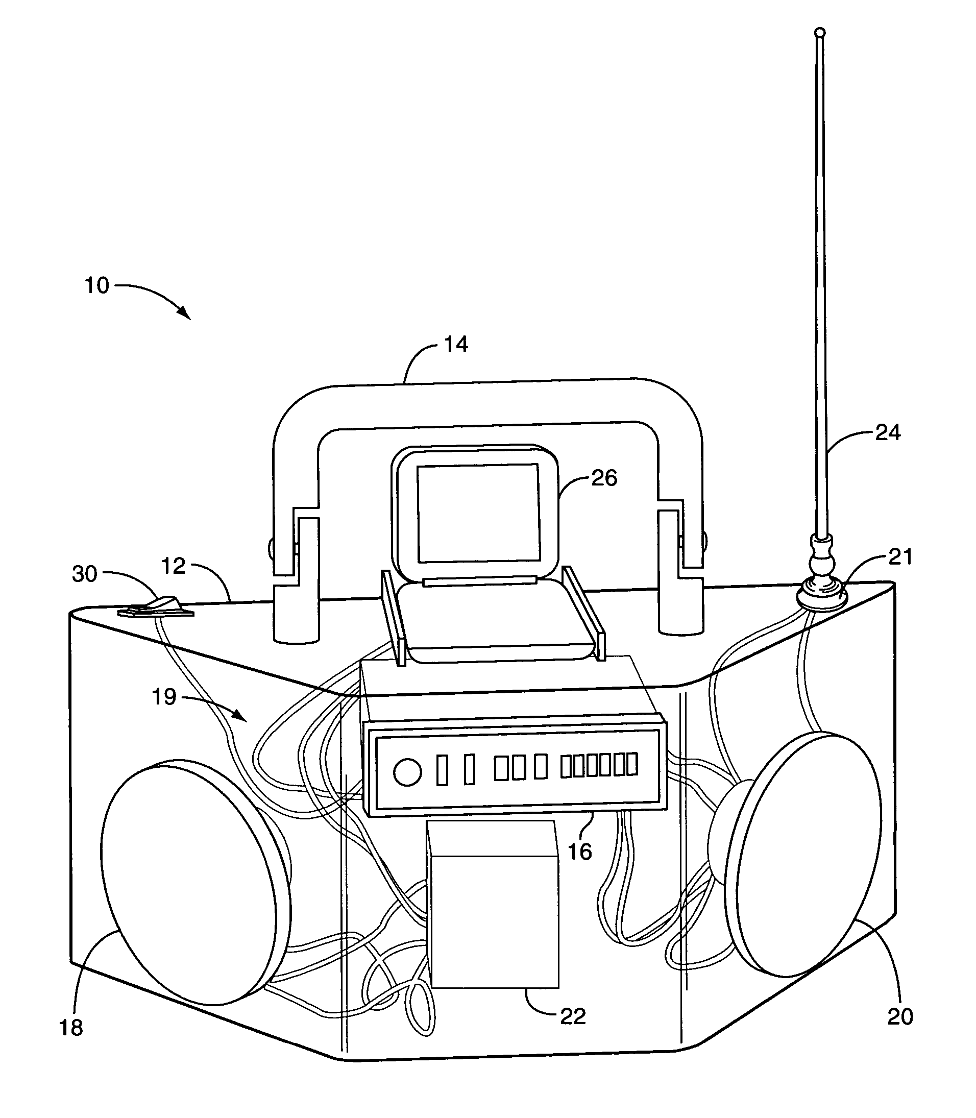patent us8027499 portable audio system with changeable 8 Track vs Cassette Tape patent drawing
